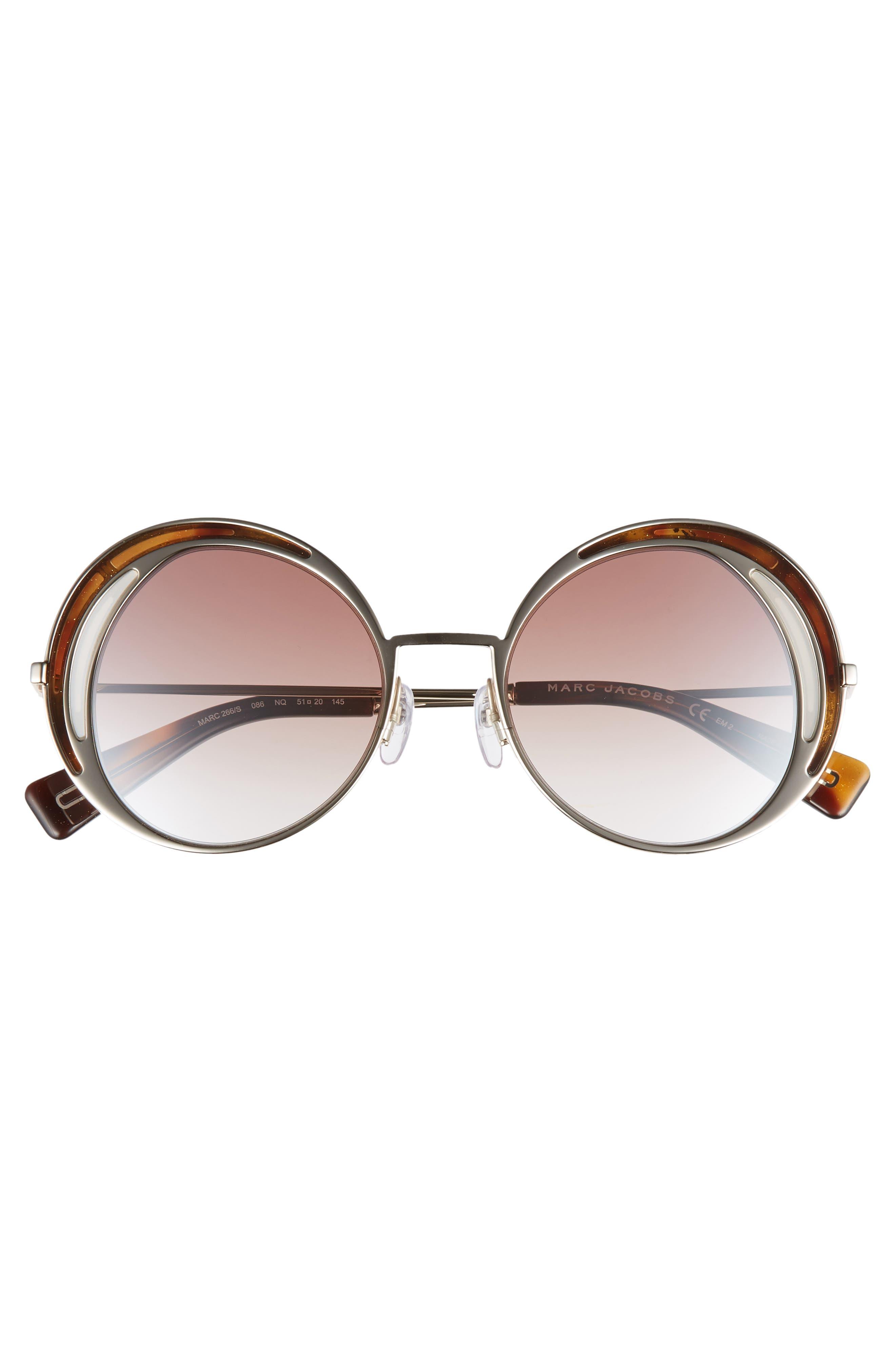 MARC JACOBS,                             51mm Round Sunglasses,                             Alternate thumbnail 3, color,                             DARK HAVANA/ GOLD