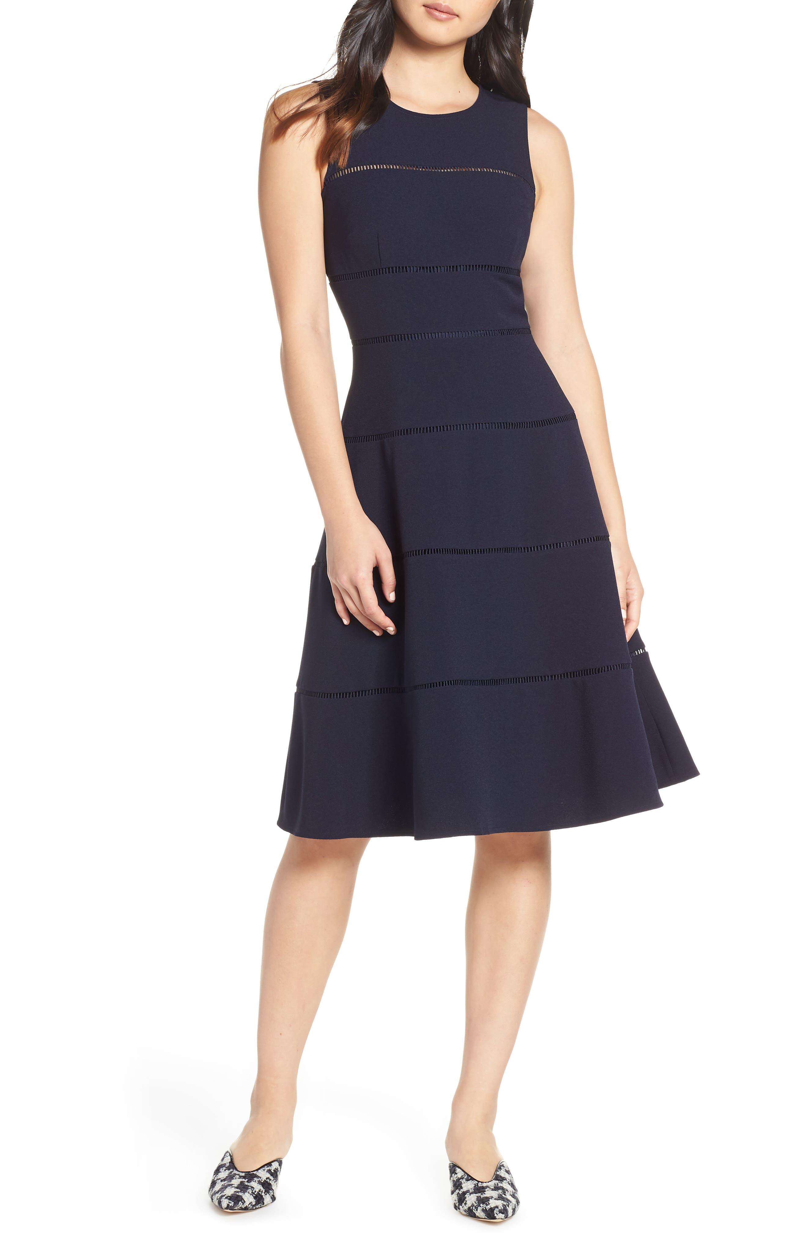 Eliza J A-Line Crepe Dress, Blue