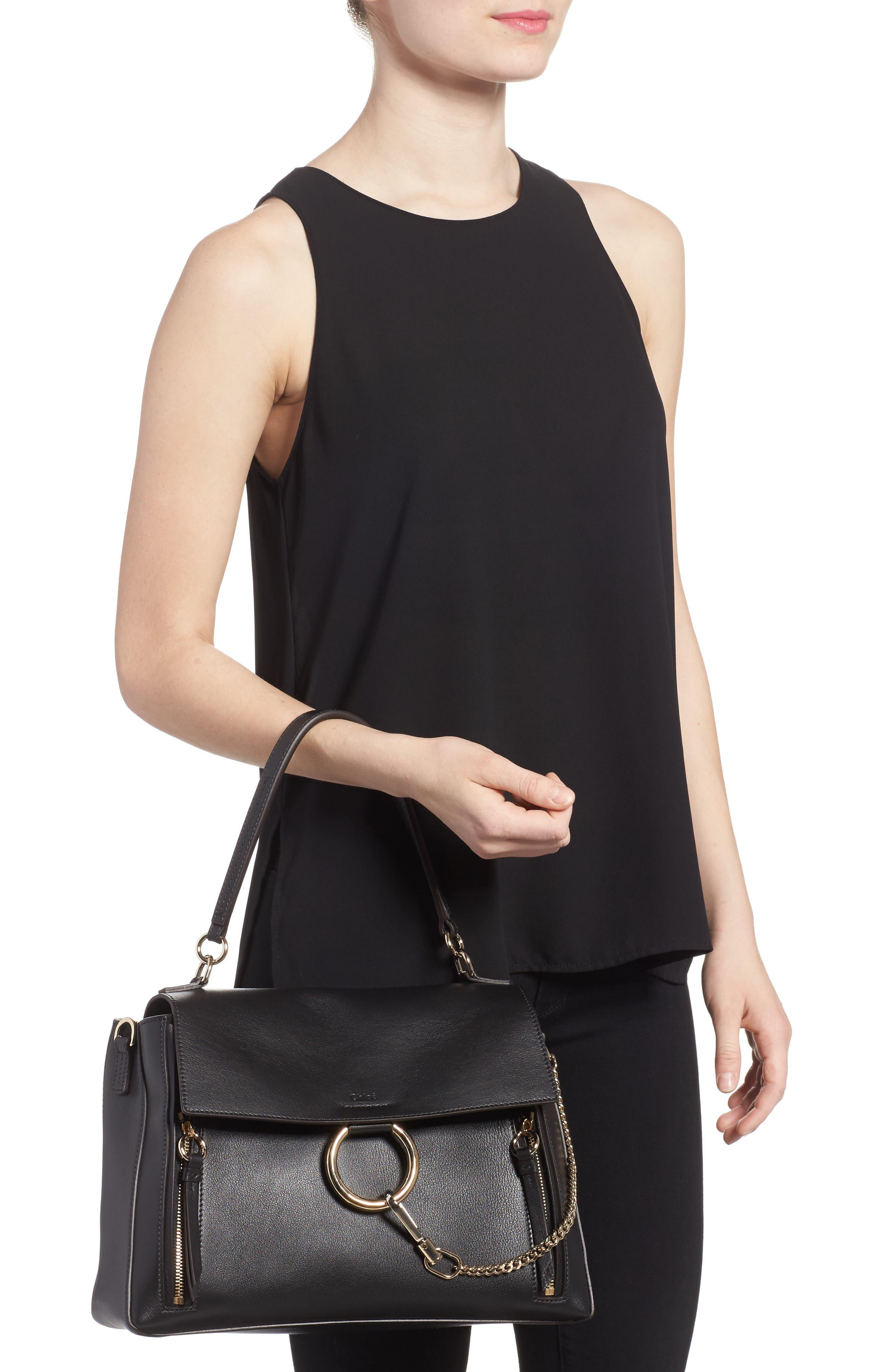 Medium Faye Leather Shoulder Bag,                             Alternate thumbnail 2, color,                             BLACK