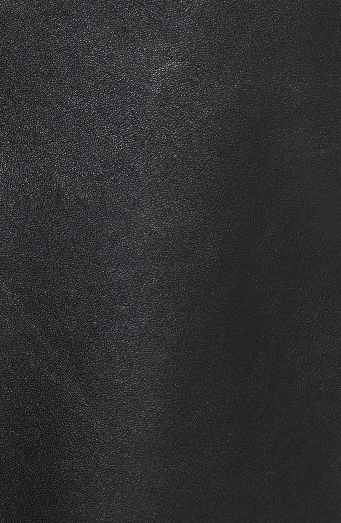 Racer Leather Miniskirt,                             Alternate thumbnail 5, color,                             002