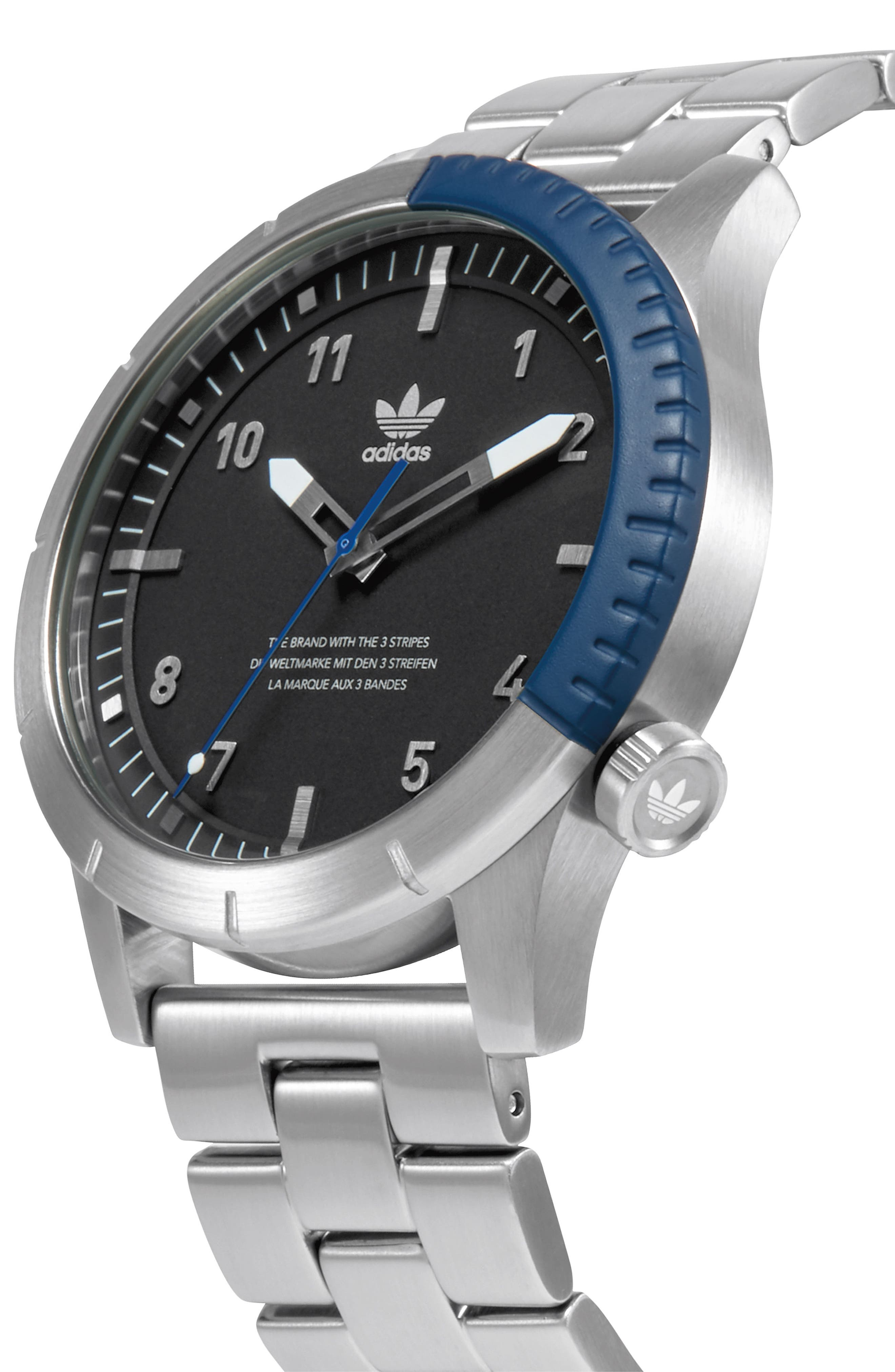 Cypher Bracelet Watch, 42mm,                             Alternate thumbnail 4, color,                             SILVER/ BLACK/ BLUE