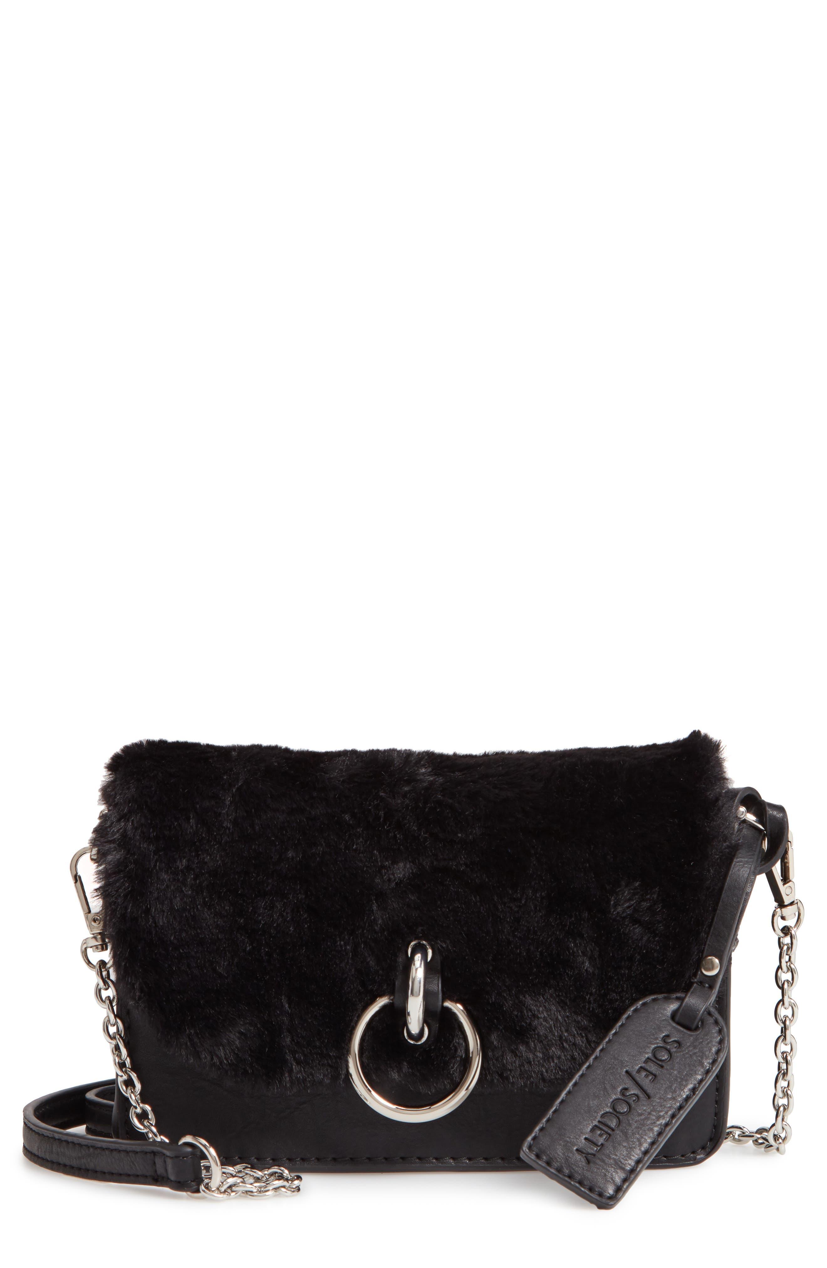 Lebra Faux Fur Crossbody Bag,                         Main,                         color, BLACK