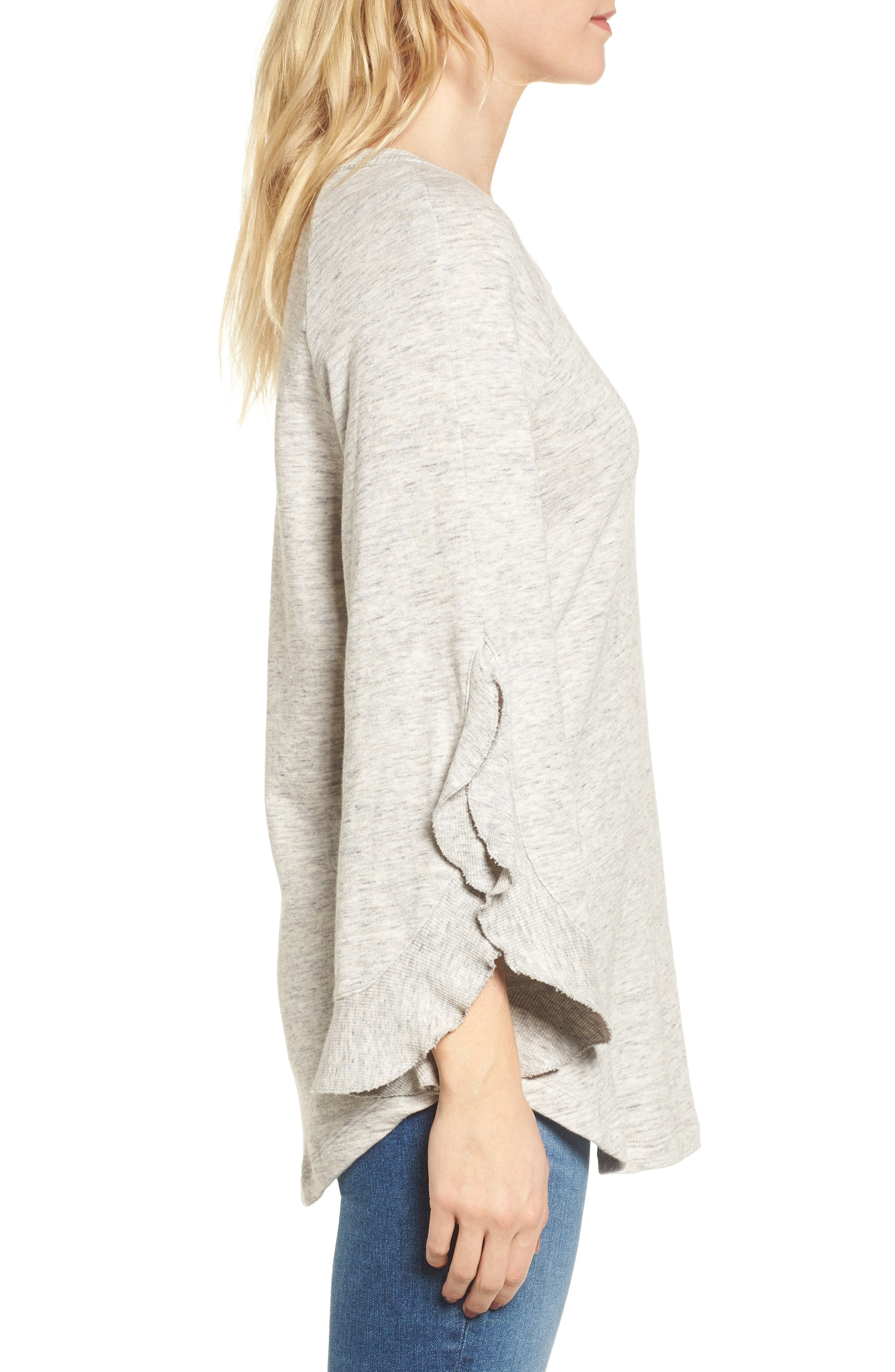 Ruffle Split Sleeve Cotton Sweatshirt,                             Alternate thumbnail 5, color,