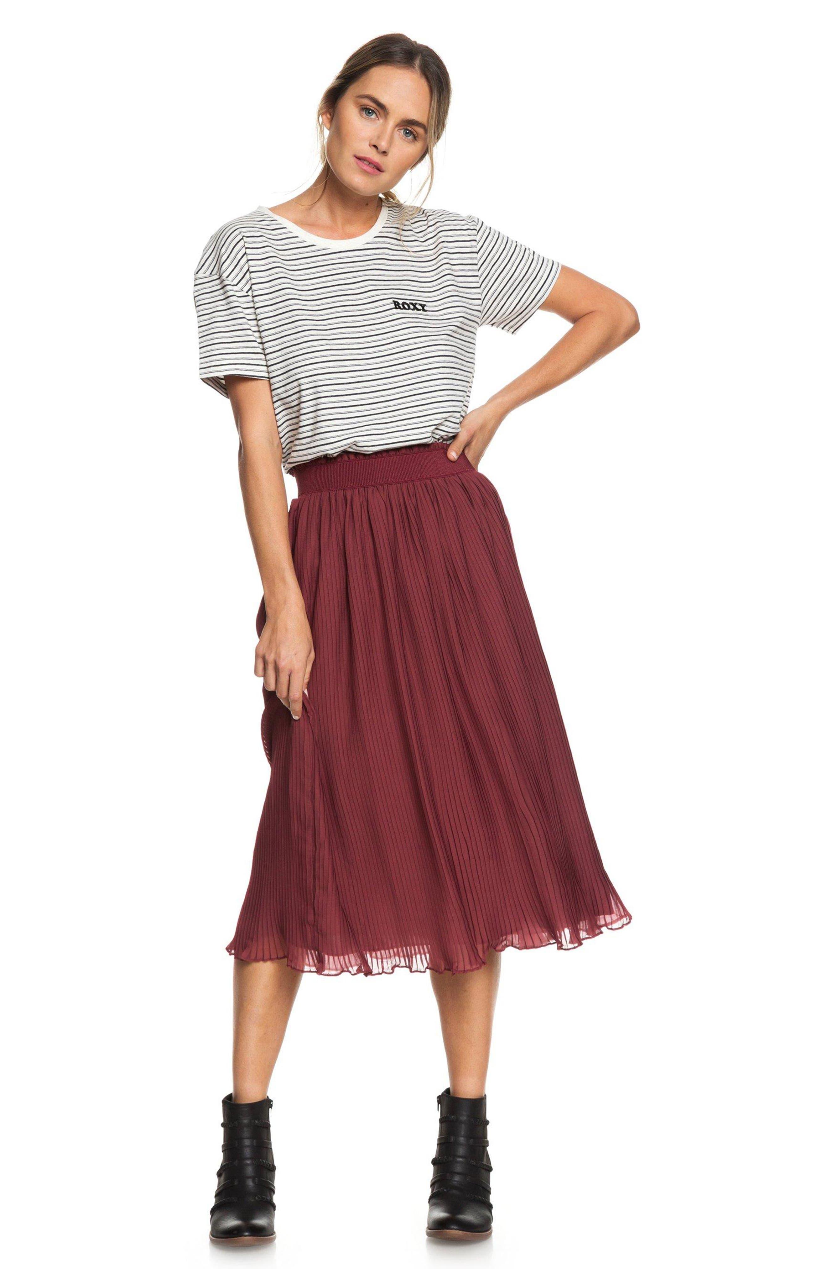ROXY,                             Green Canyon Midi Skirt,                             Main thumbnail 1, color,                             OXBLOOD RED