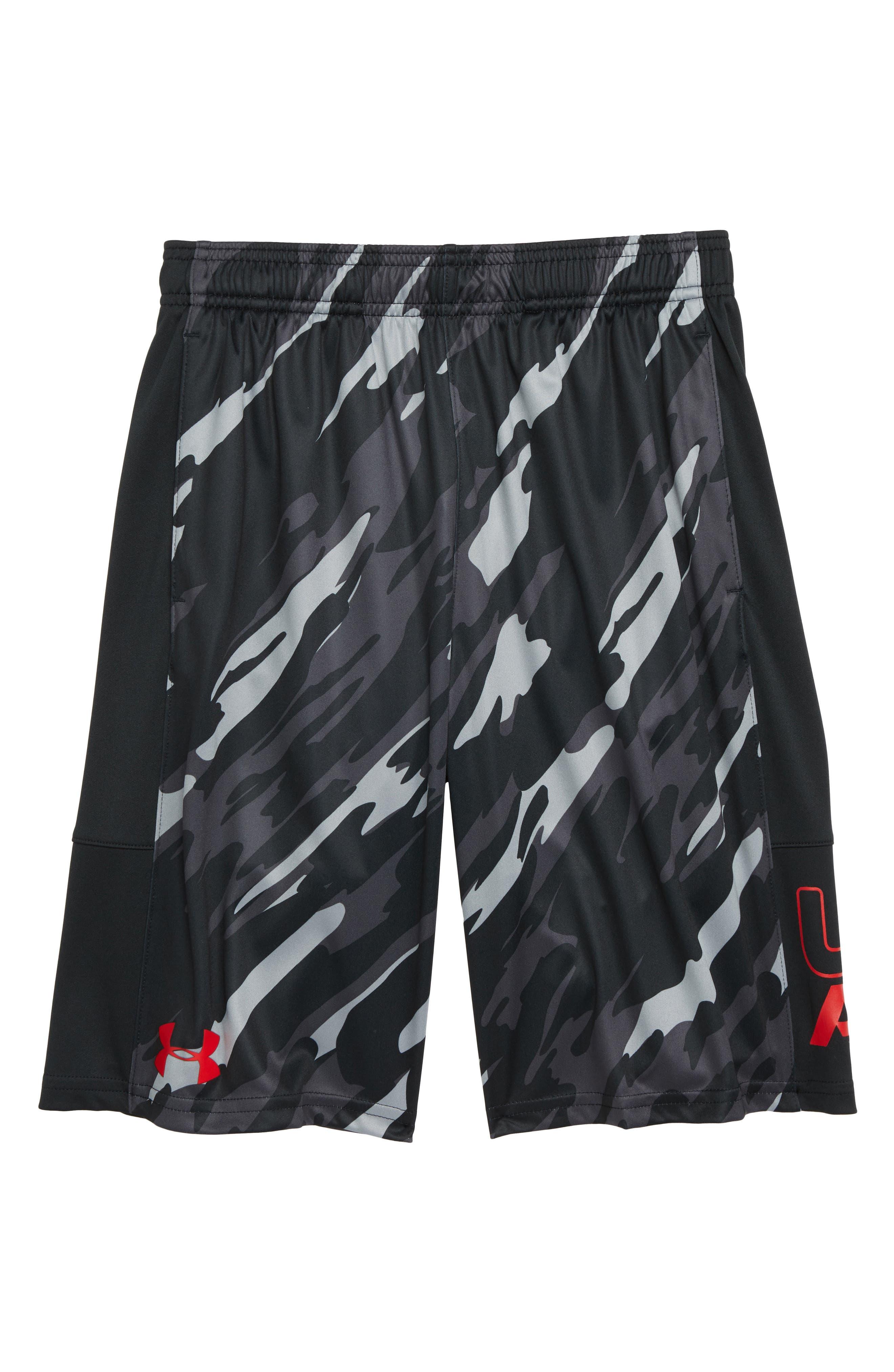 Stunt HeatGear<sup>®</sup> Shorts,                         Main,                         color, BLACK/RED