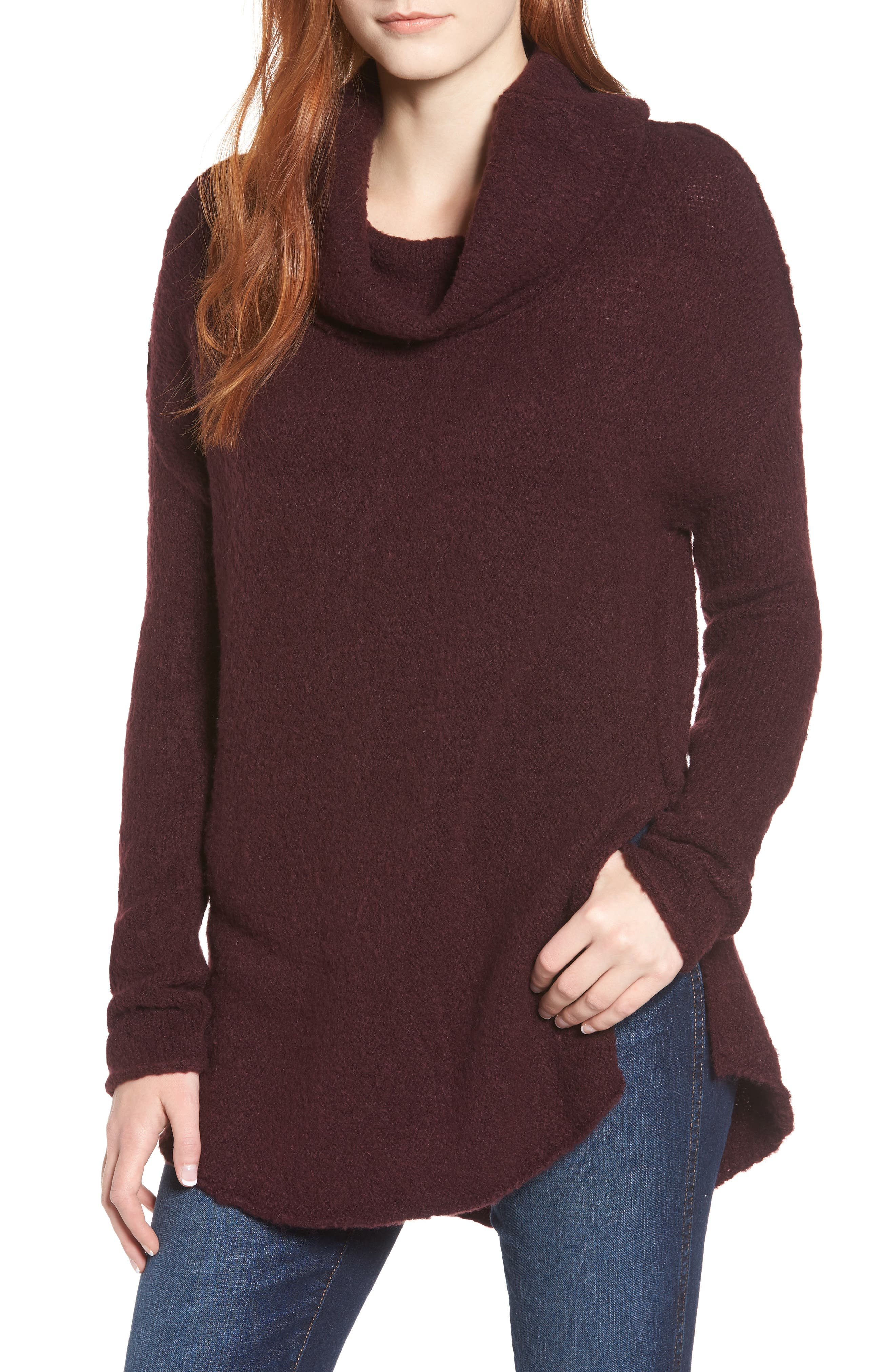 Tunic Sweater,                             Main thumbnail 1, color,                             BURGUNDY FIG