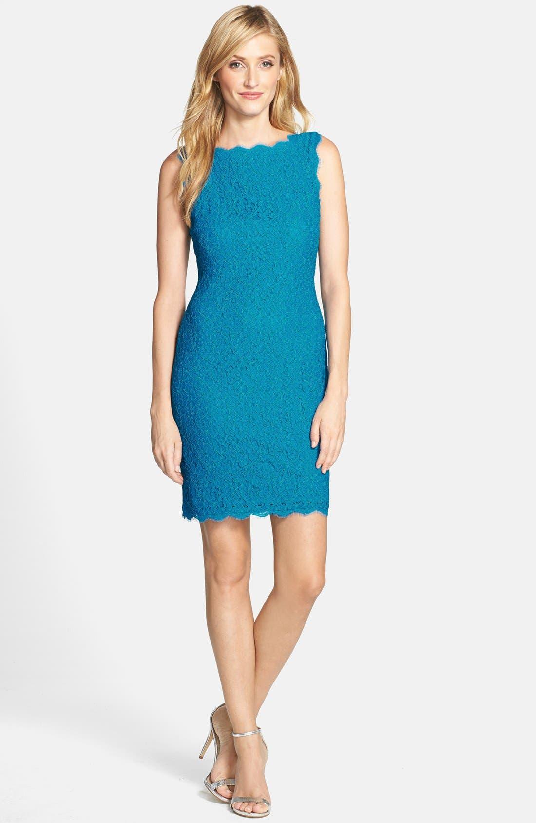 Boatneck Lace Sheath Dress,                             Alternate thumbnail 51, color,