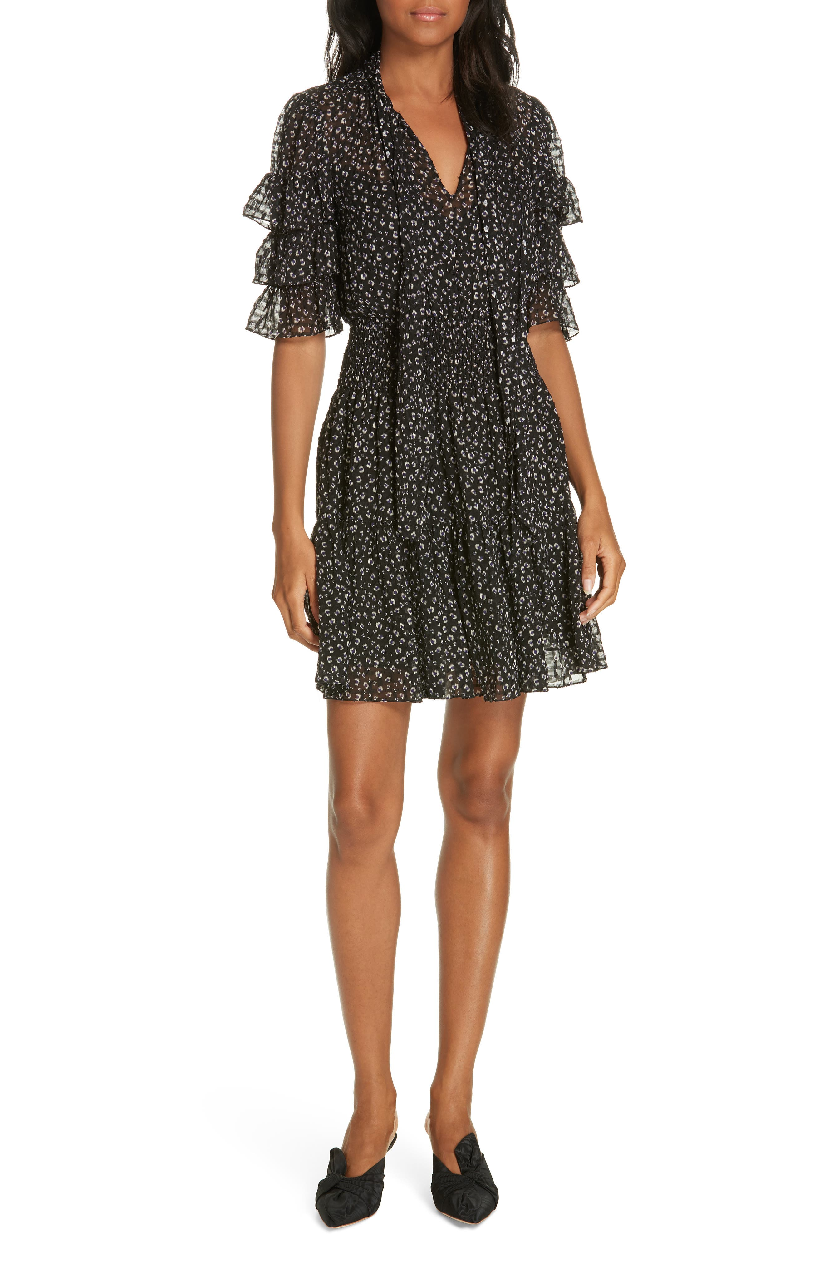 Cheetah Print Silk Blend Dress,                         Main,                         color, BLACK COMBO