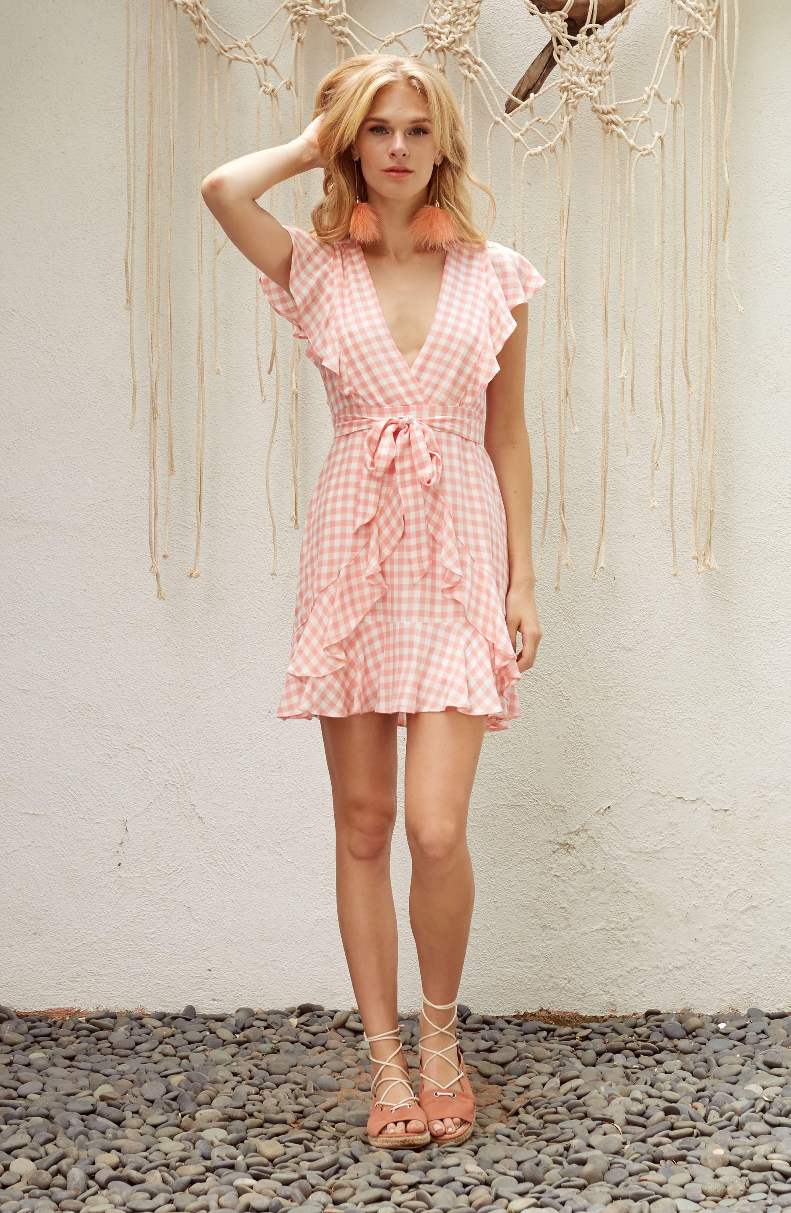 Brunch Ruffle Gingham Dress,                             Alternate thumbnail 9, color,                             693