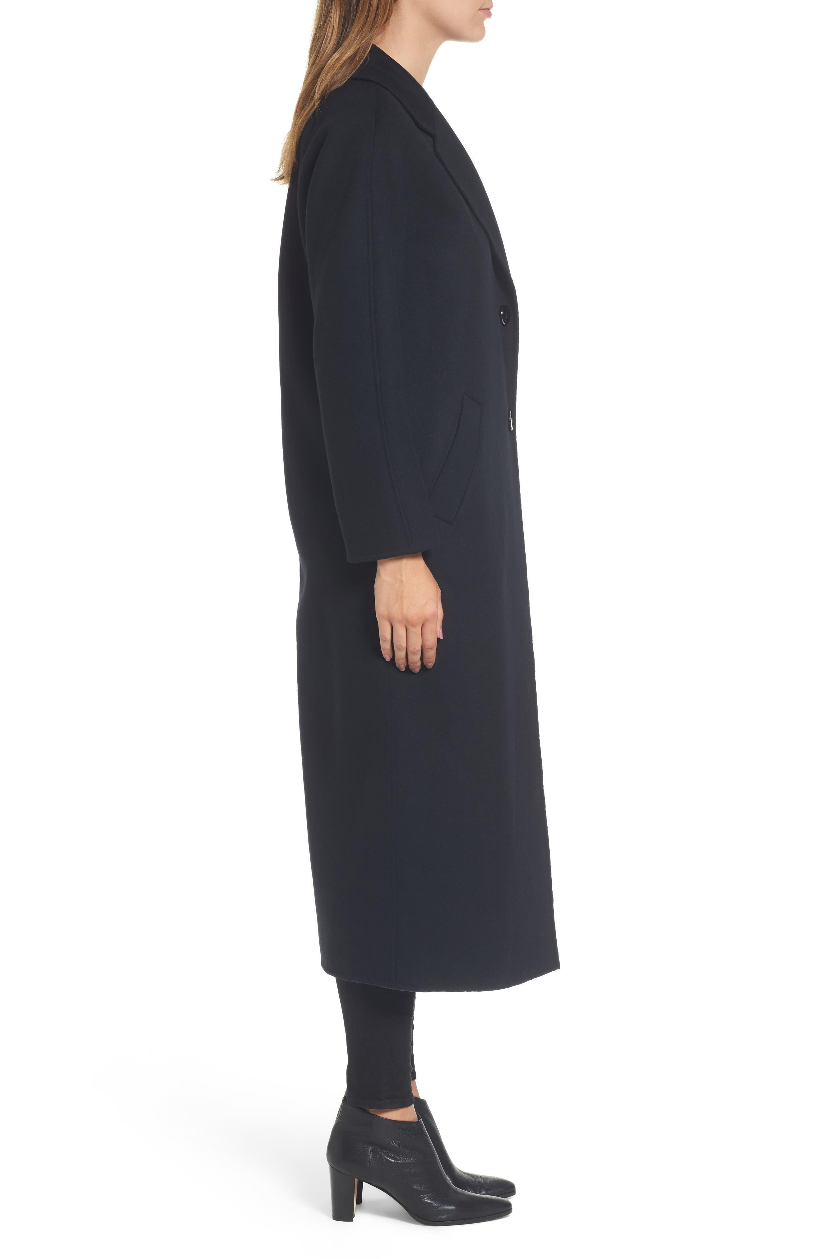 Adriana Wool Reefer Coat,                             Alternate thumbnail 3, color,                             001