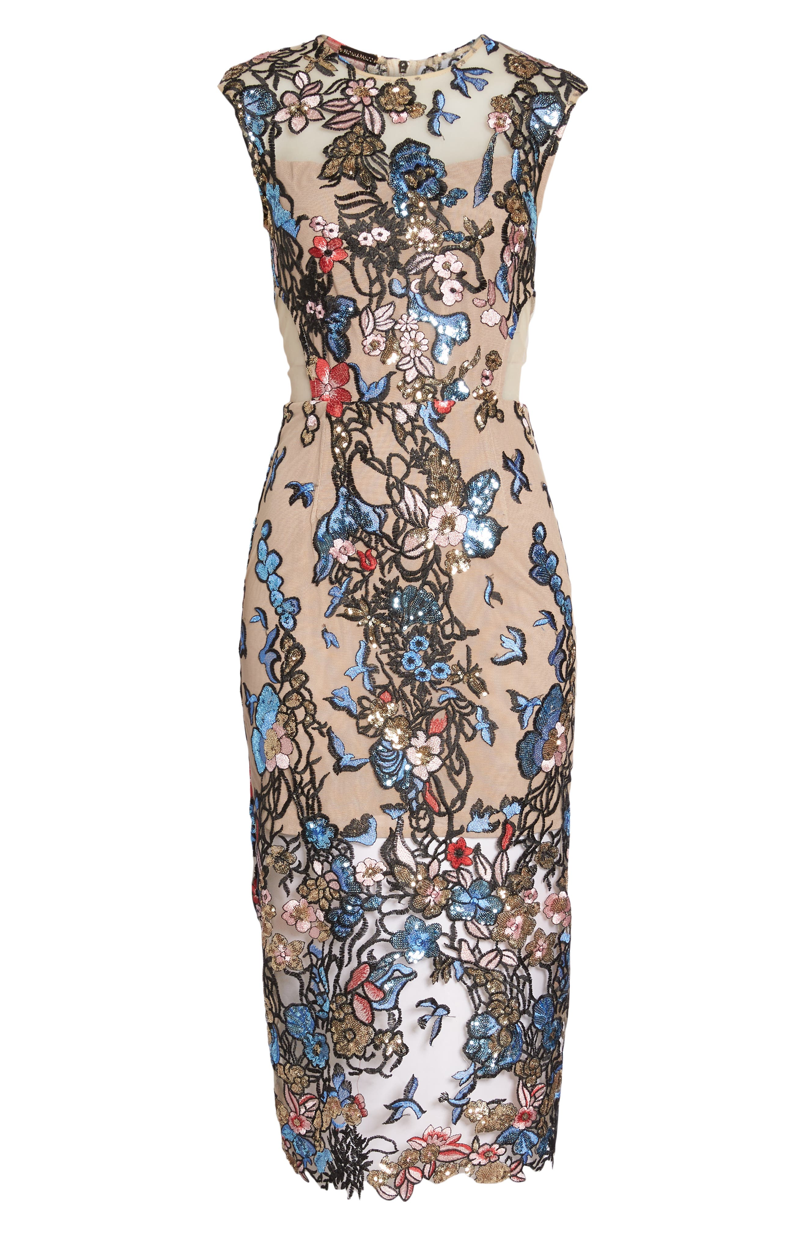 Bird of Paradise Sequin Embroidered Midi Dress,                             Alternate thumbnail 6, color,                             259