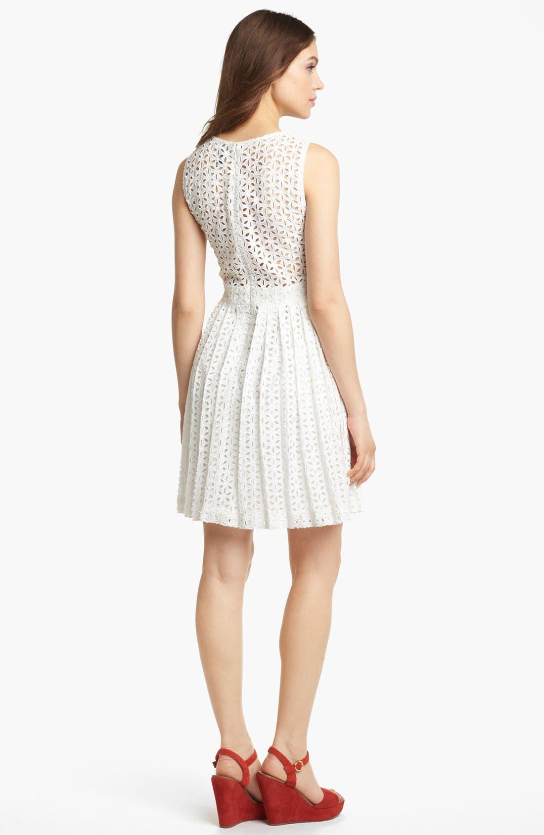 Sleeveless Cotton Fit & Flare Dress,                             Alternate thumbnail 3, color,