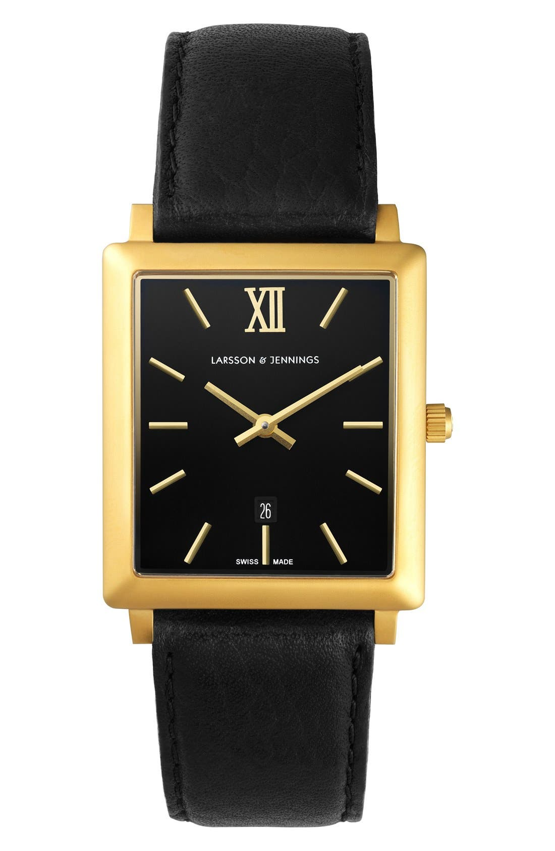 'Norse' Rectangular Leather Strap Watch, 29mm x 40mm, Main, color, 001