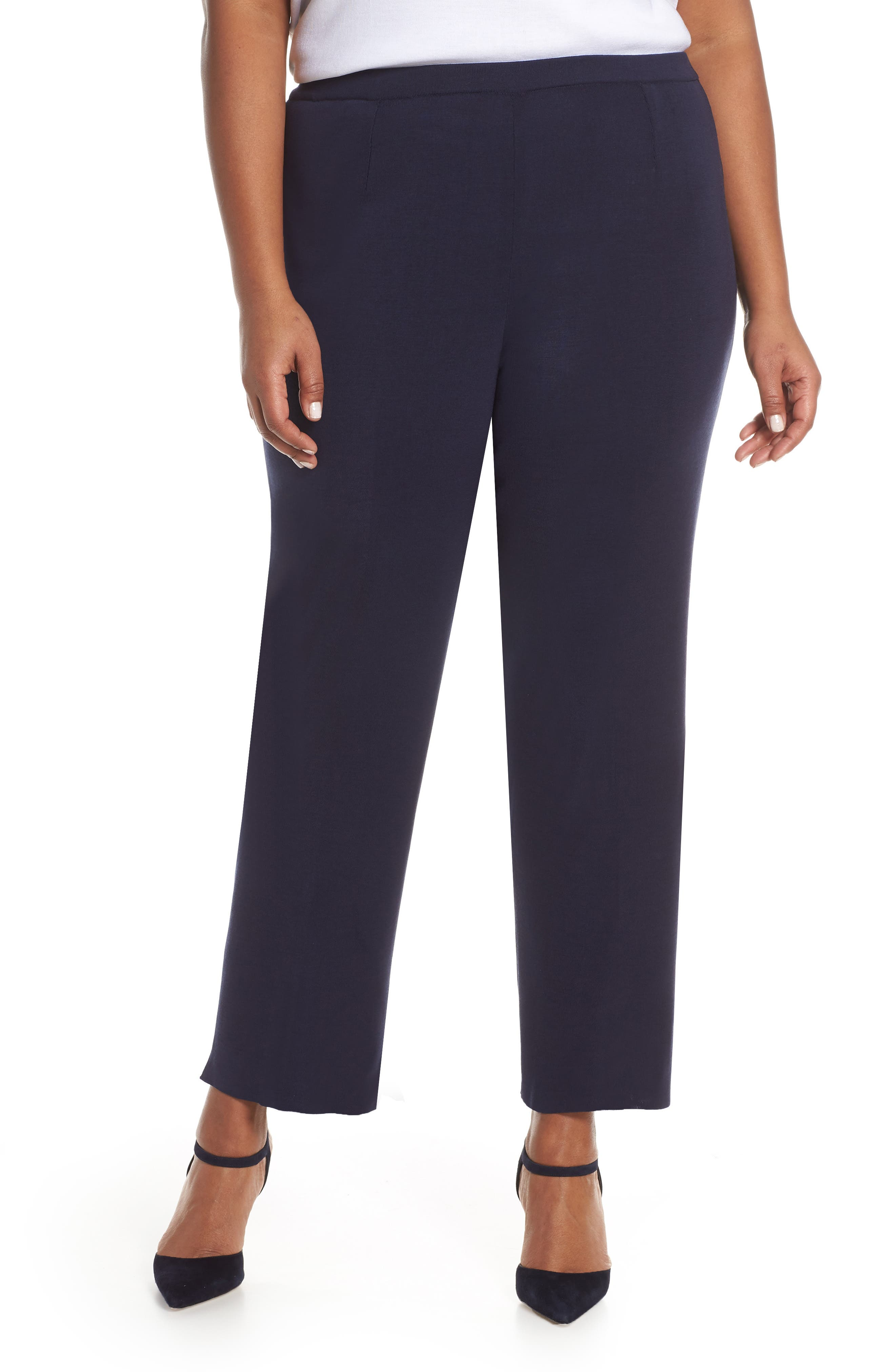 Plus Size Ming Wang Pull-On Ankle Pants, Blue