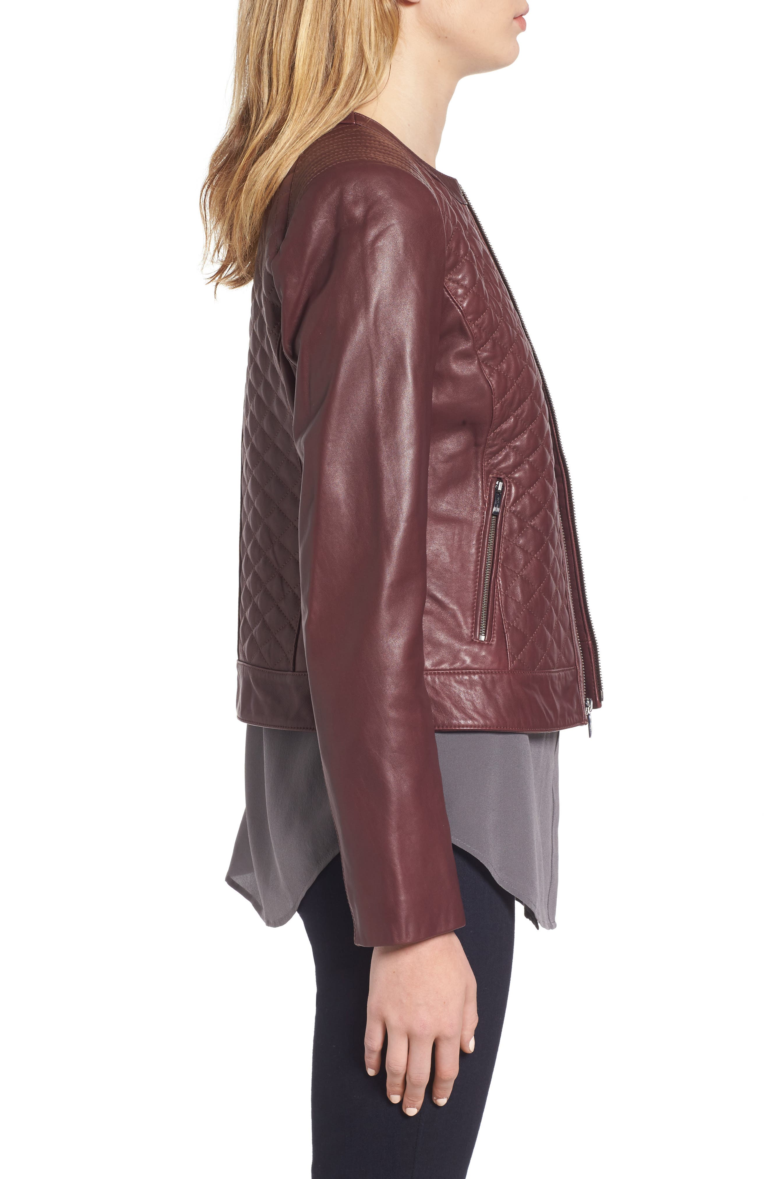 COLE HAAN,                             Quilted Leather Moto Jacket,                             Alternate thumbnail 3, color,                             602
