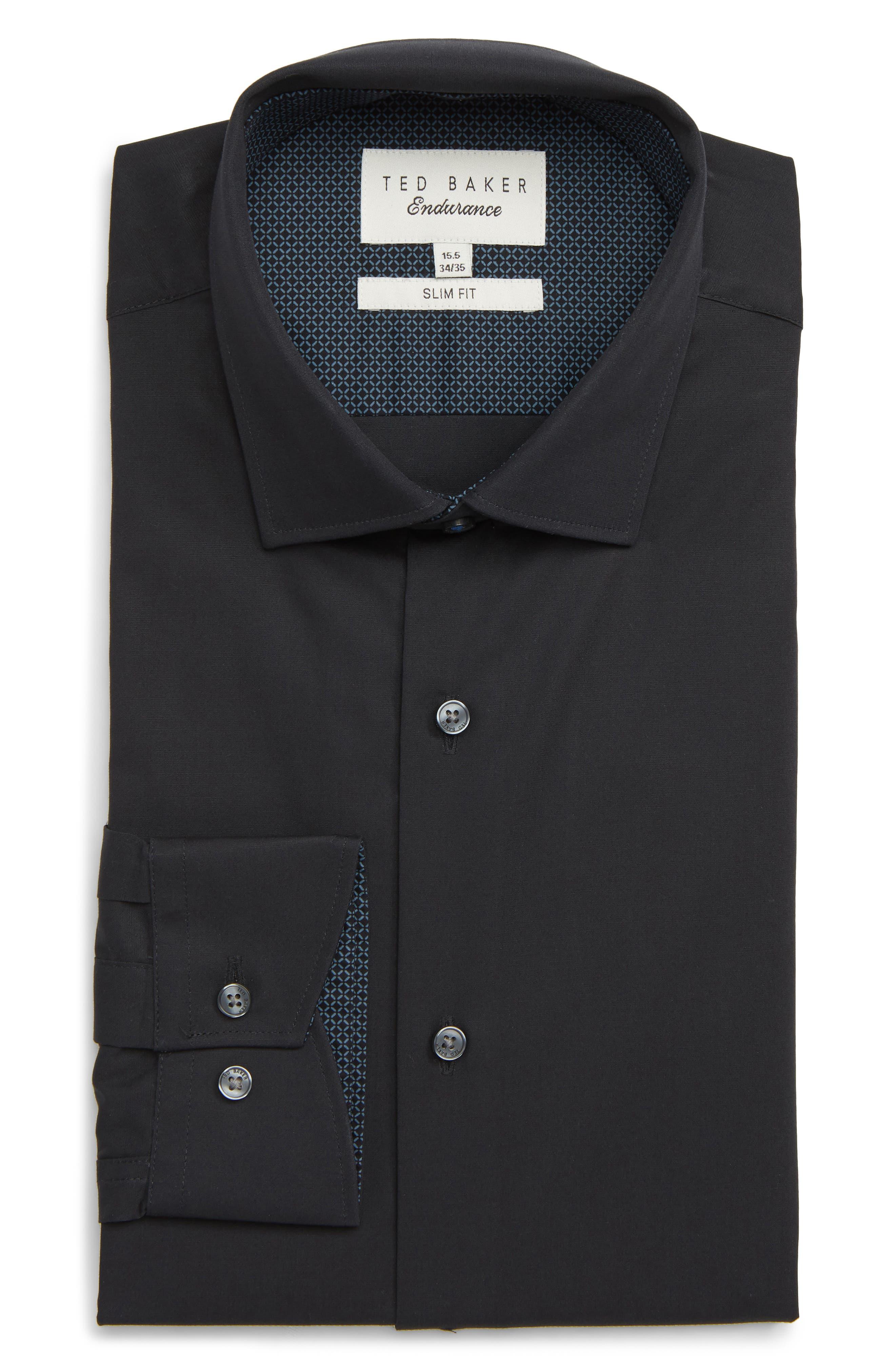 Endurance Bookers Slim Fit Solid Dress Shirt,                             Main thumbnail 1, color,                             001