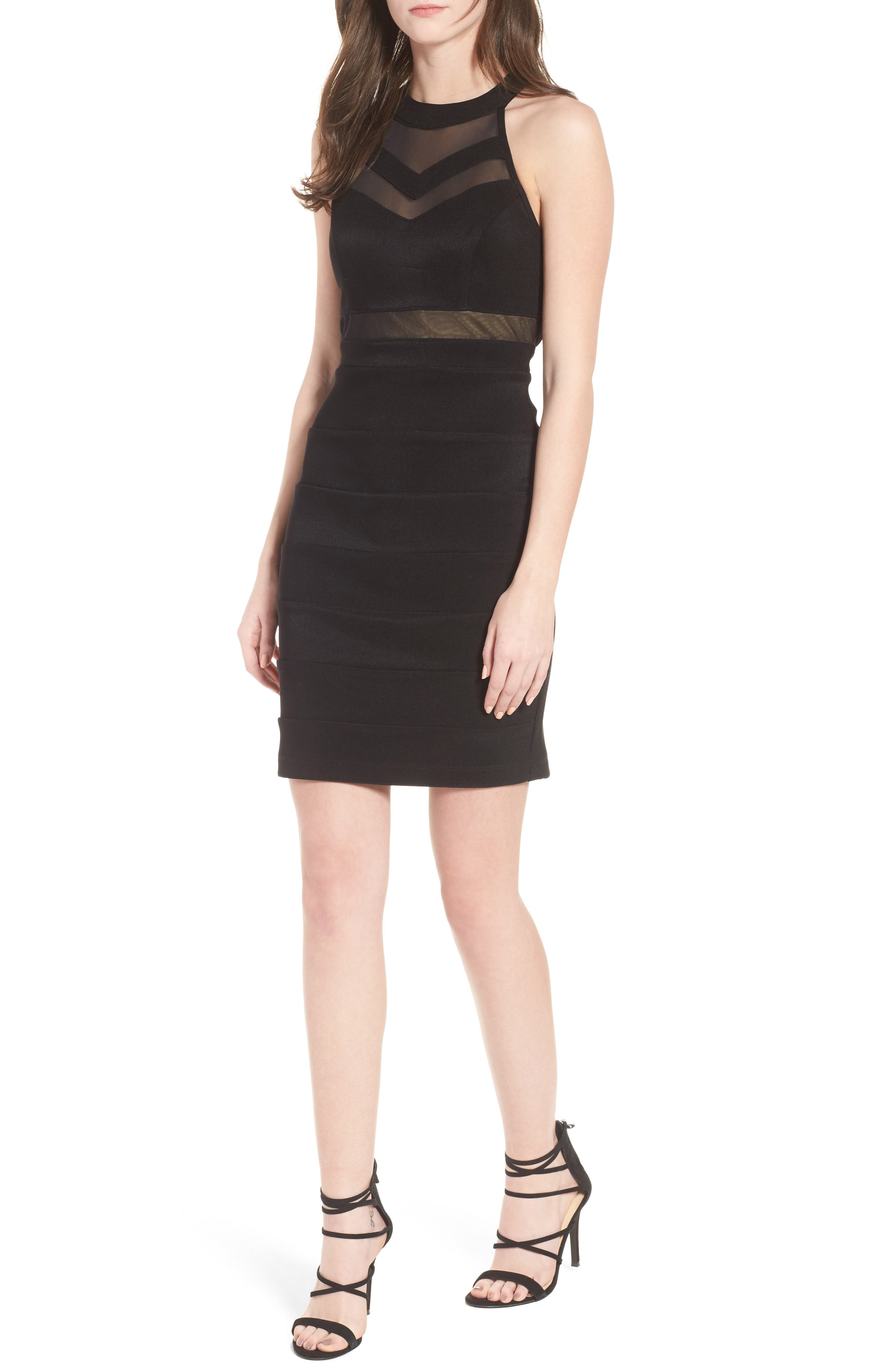 Illusion Body-Con Dress,                         Main,                         color, 001