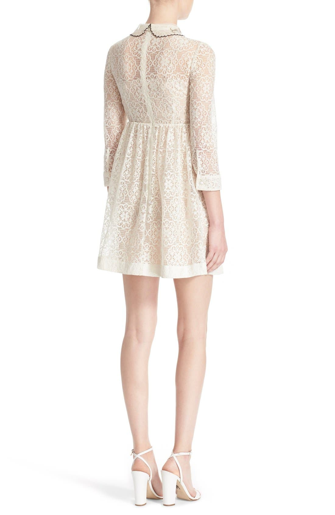 RED VALENTINO,                             Smocked Bodice Lace Dress,                             Alternate thumbnail 6, color,                             900
