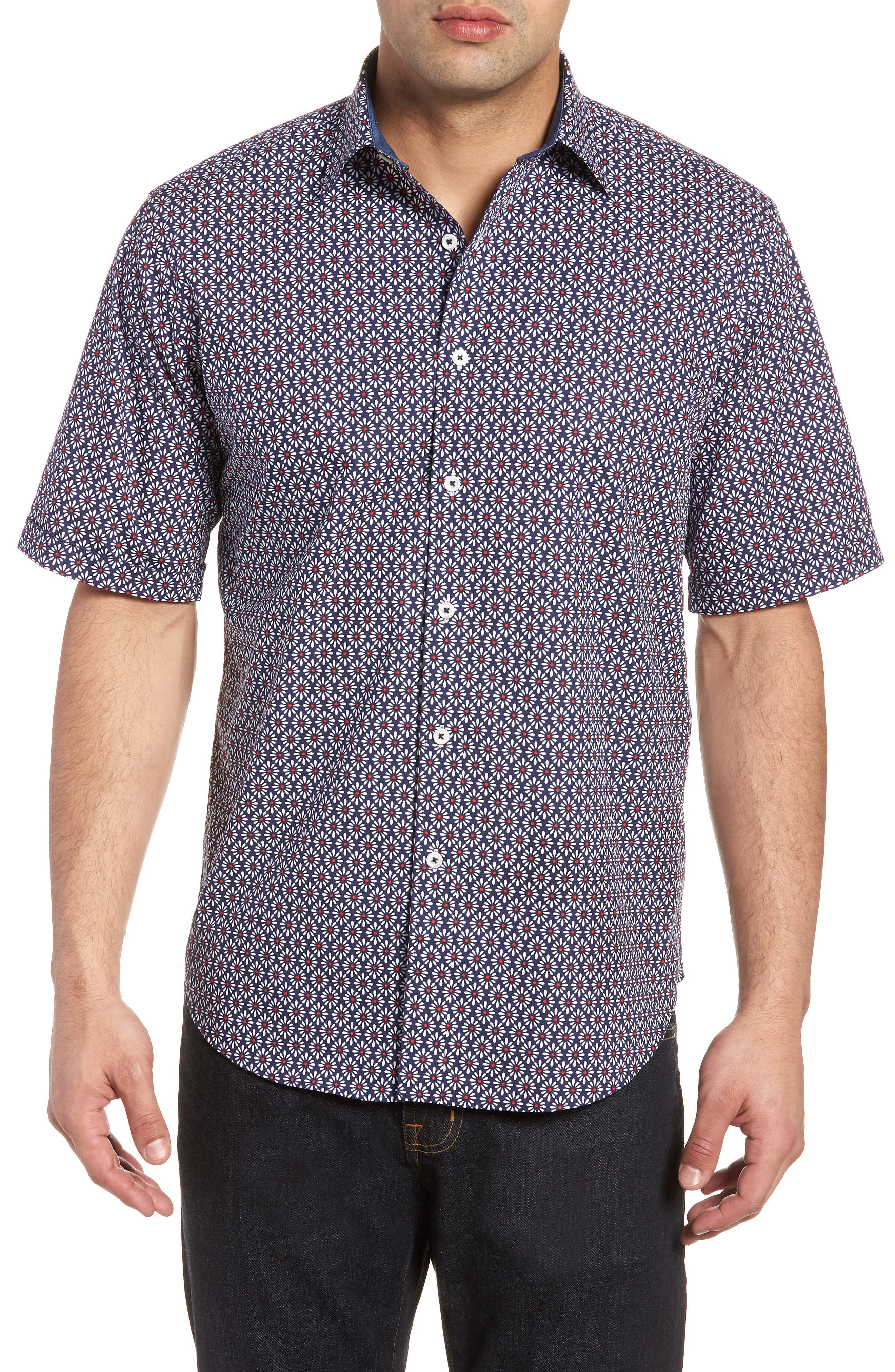 Classic Fit Woven Sport Shirt,                         Main,                         color, NAVY