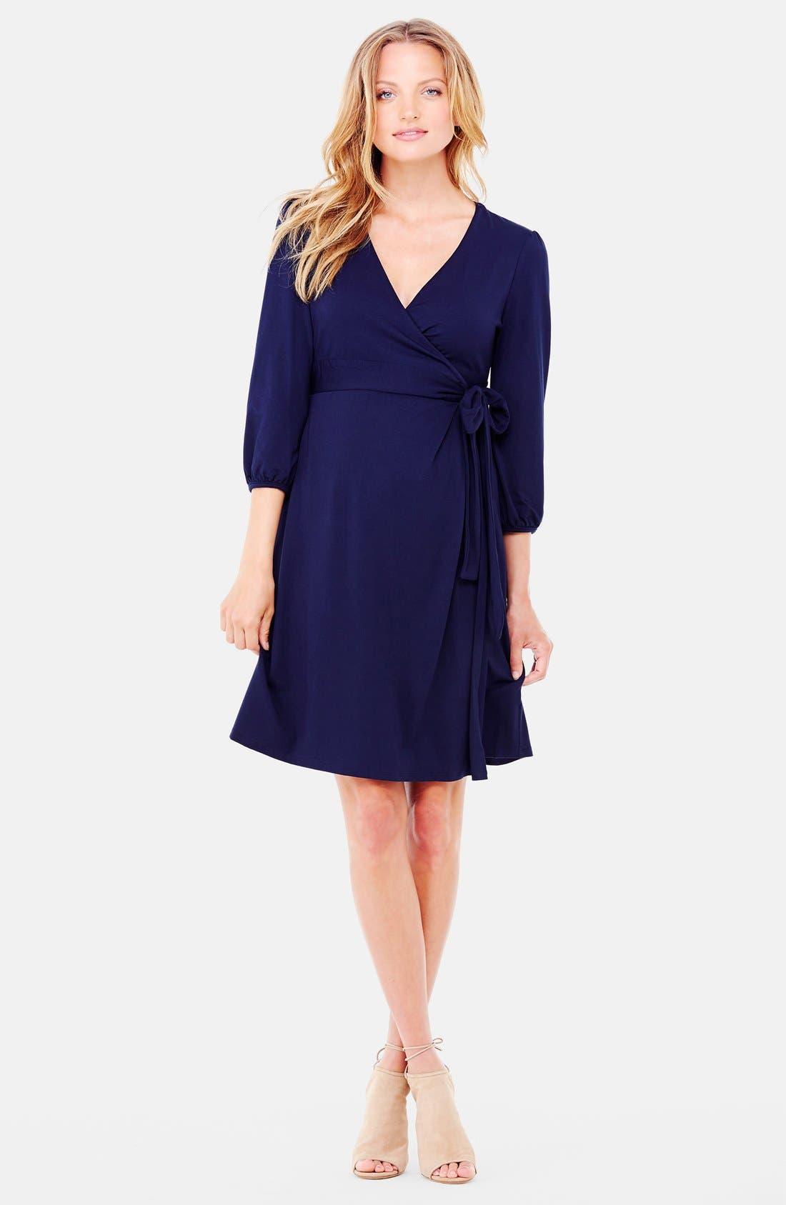 Nursing Friendly Maternity Wrap Dress,                             Main thumbnail 3, color,