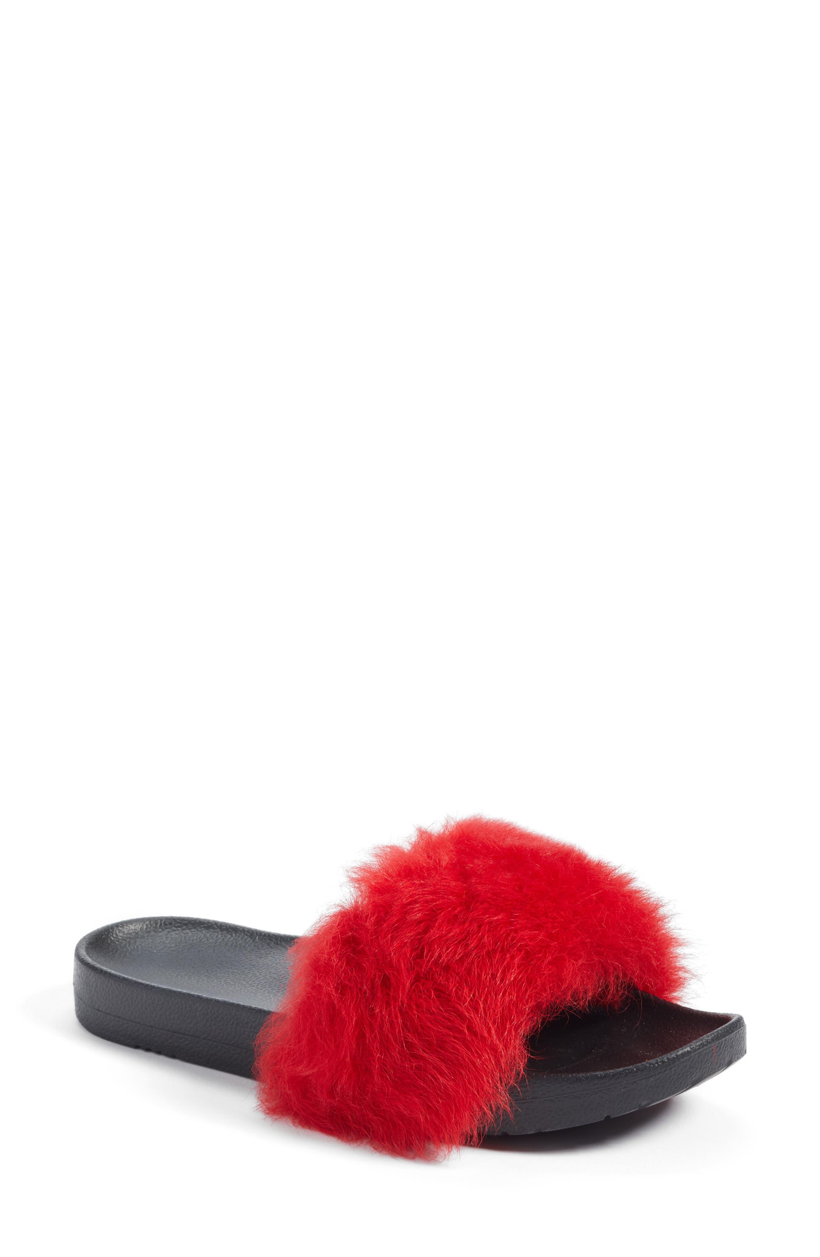 Royale Genuine Shearling Slide Sandal,                             Main thumbnail 1, color,                             627