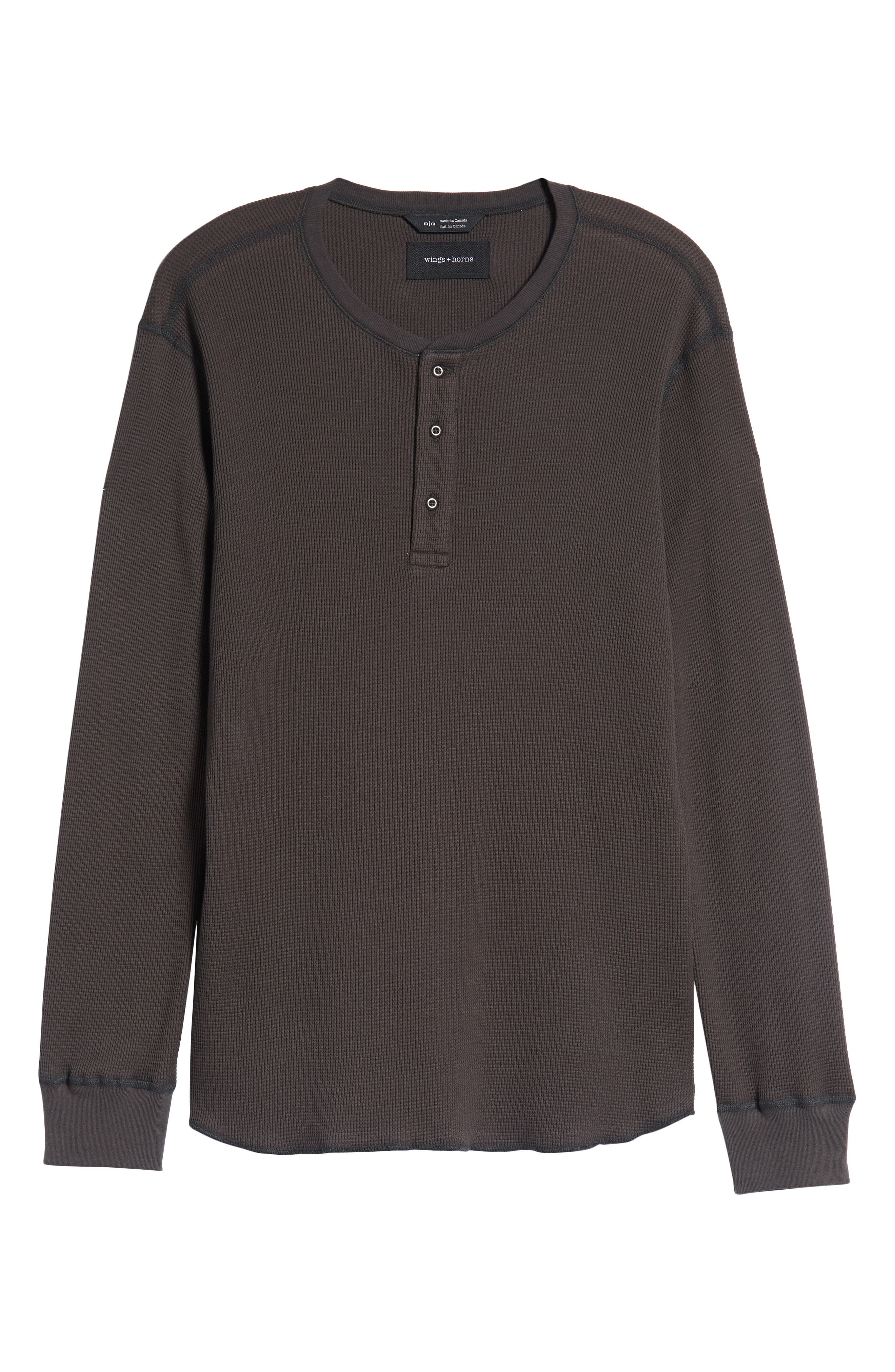 WINGS + HORNS,                             Long Sleeve Thermal Henley,                             Alternate thumbnail 6, color,                             STONE