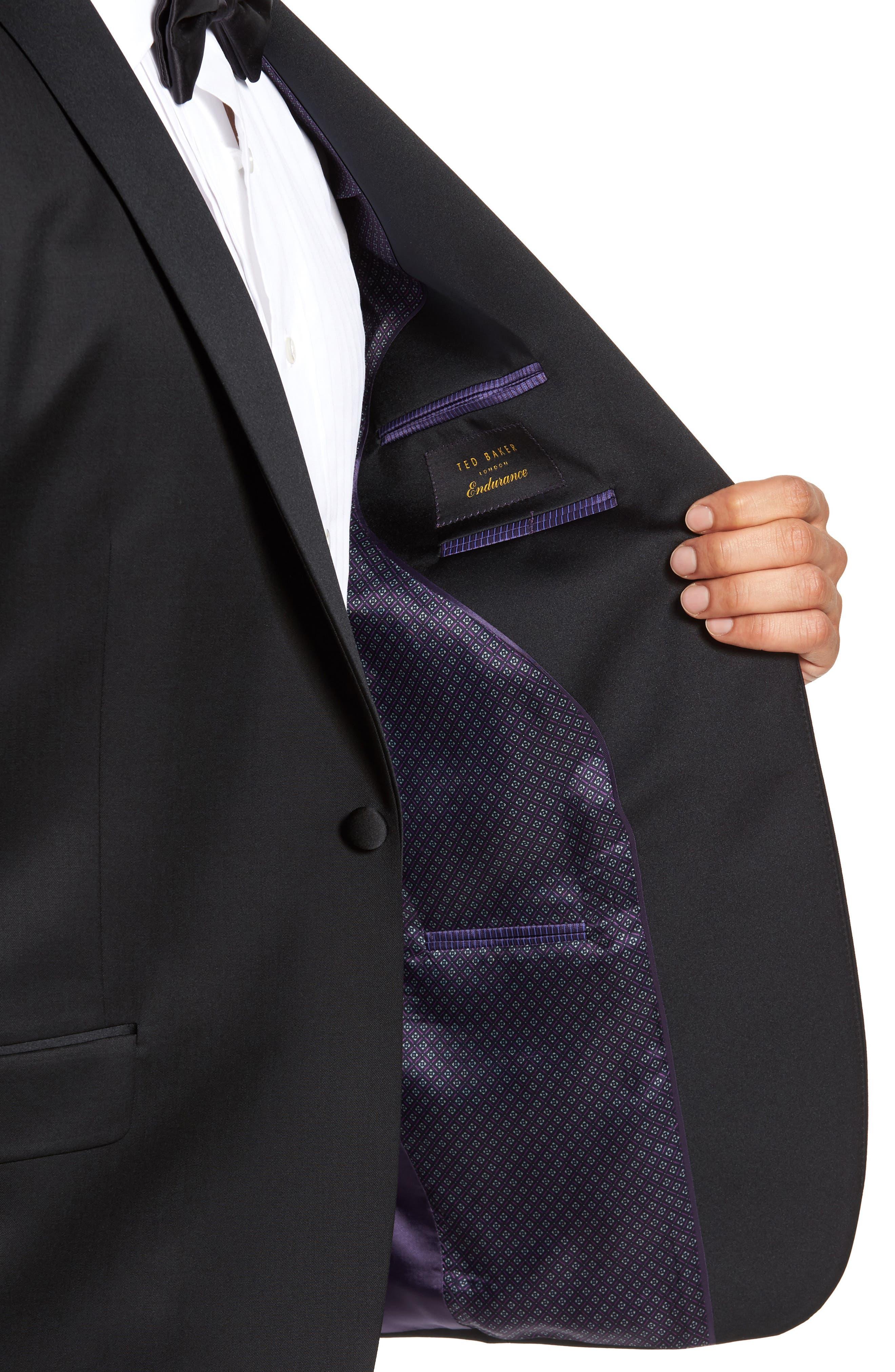 Josh Trim Fit Wool & Mohair Tuxedo,                             Alternate thumbnail 4, color,                             BLACK