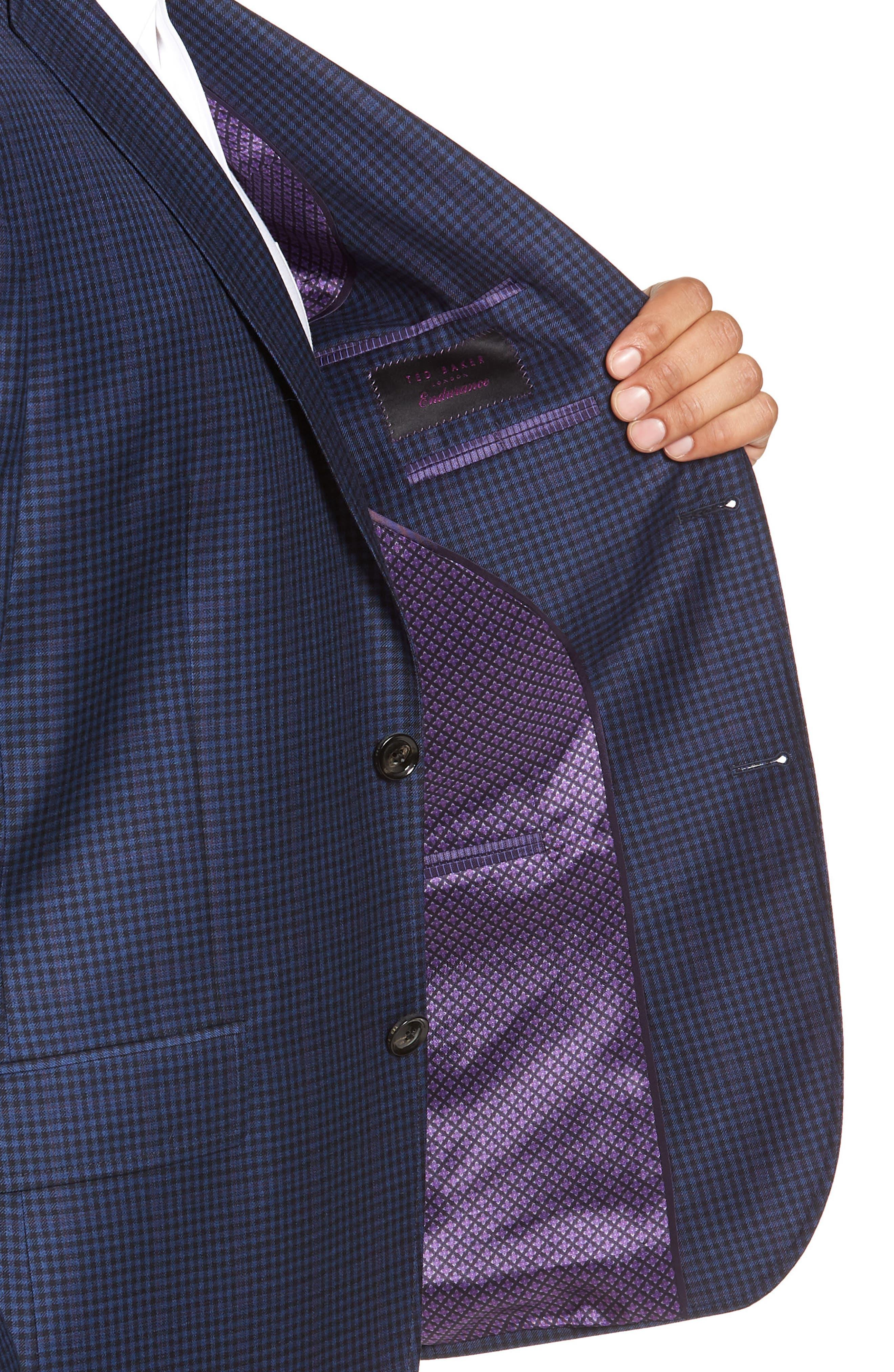 Jay 2B Trim Fit Check Wool Sport Coat,                             Alternate thumbnail 4, color,                             400