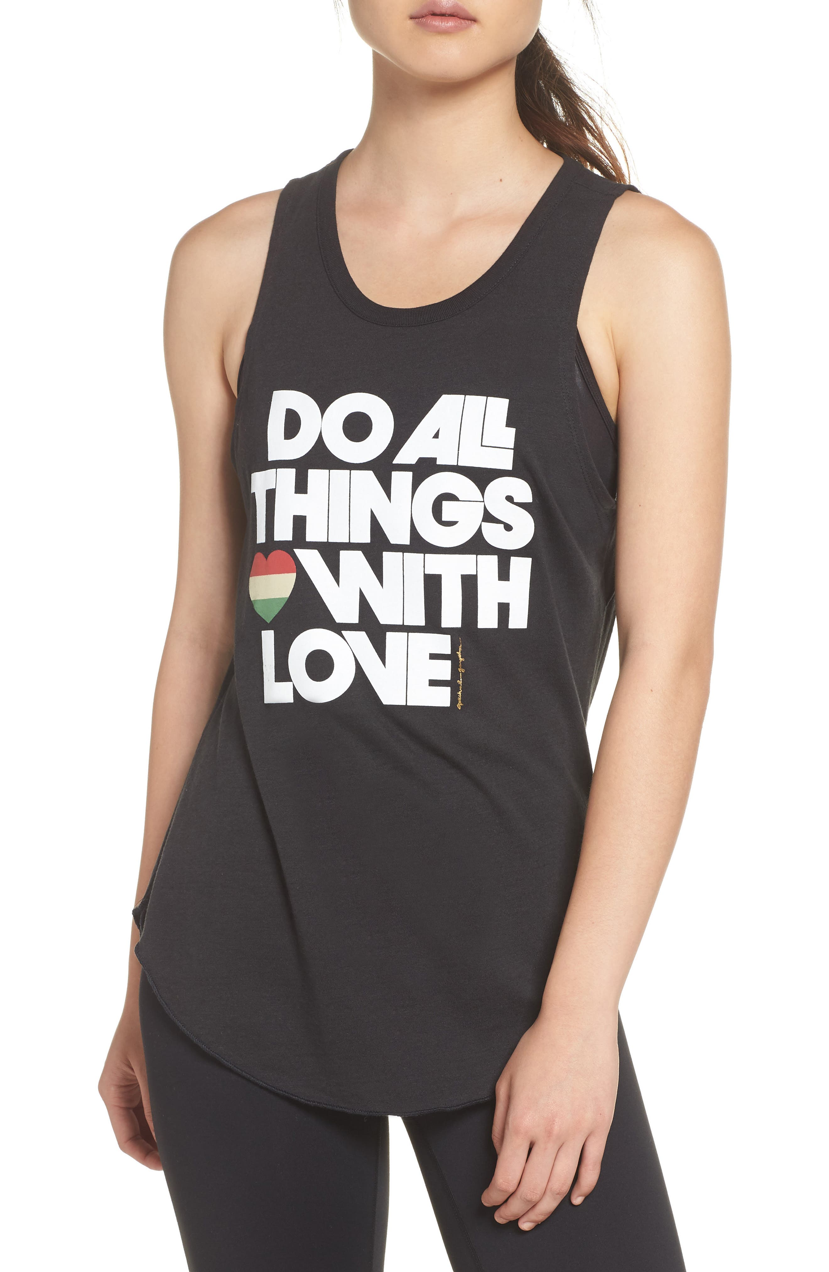 Do All Things with Love Open Back Tank,                             Main thumbnail 1, color,                             VINTAGE BLACK