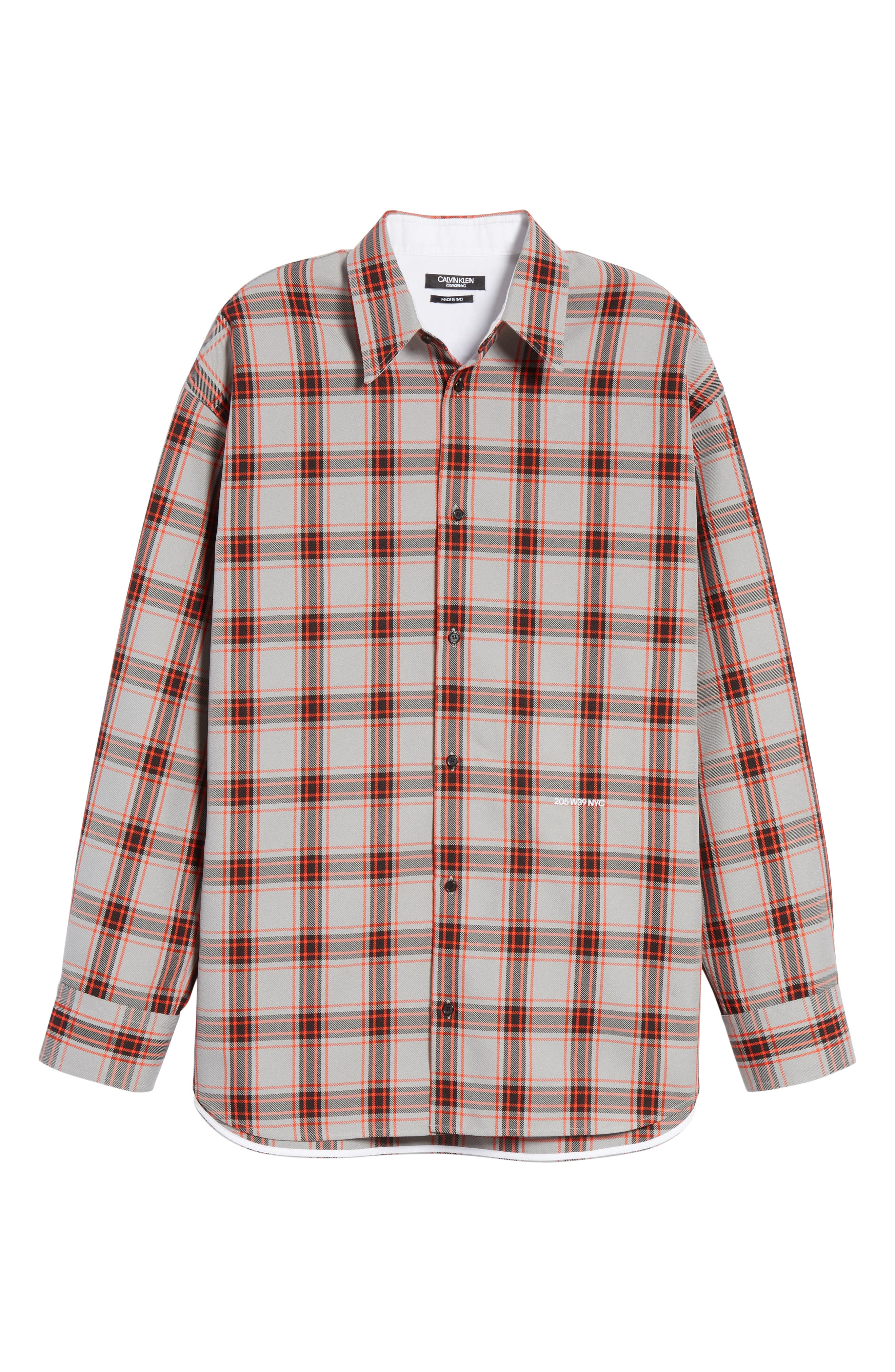 Oversize Plaid Twill Shirt,                             Alternate thumbnail 6, color,                             GREY/ RED