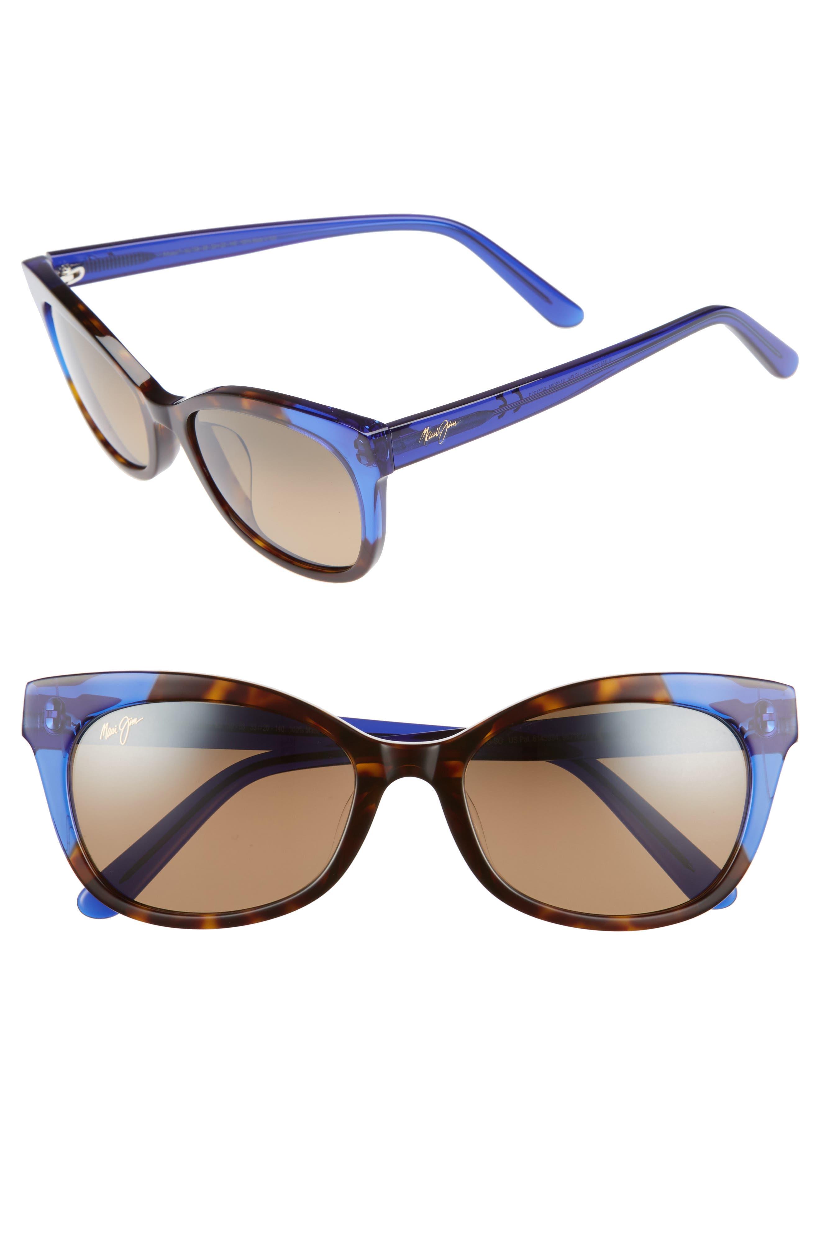 Maui Jim Ilima 5m Polarizedplus2 Cat Eye Sunglasses - Dark Tortoise/ Electric Blue