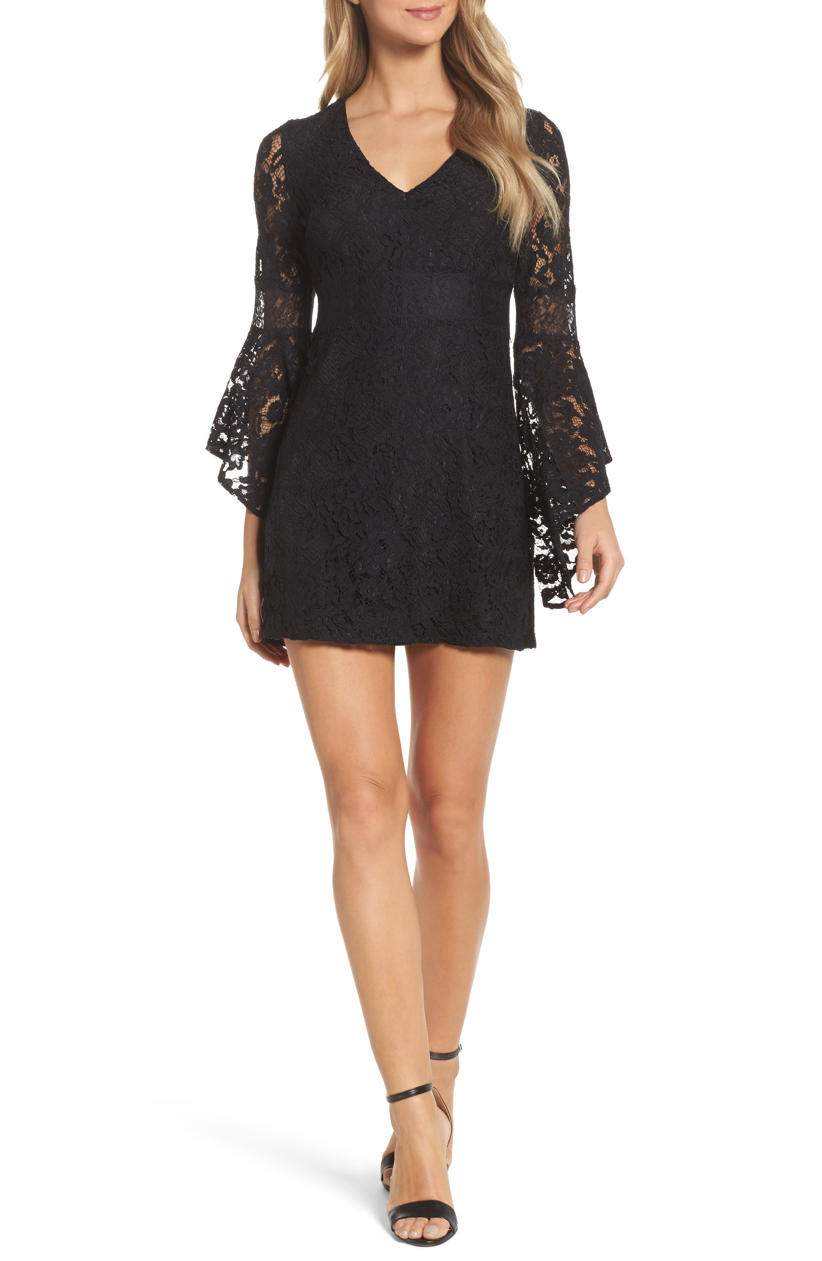 Le Fete Lace Bell Sleeve Dress,                             Main thumbnail 1, color,                             001