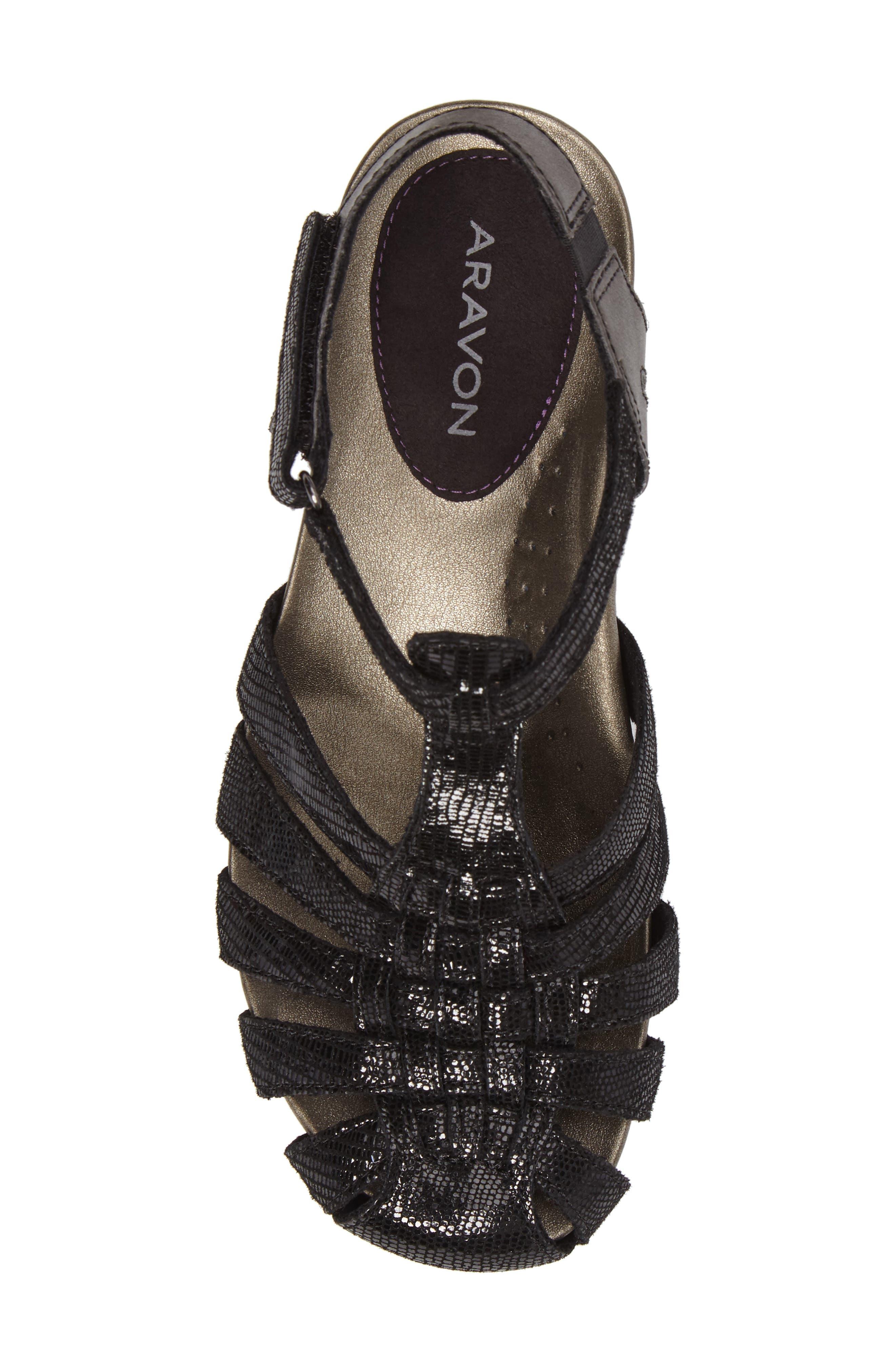 Standon Wedge Sandal,                             Alternate thumbnail 5, color,                             BLACK FABRIC