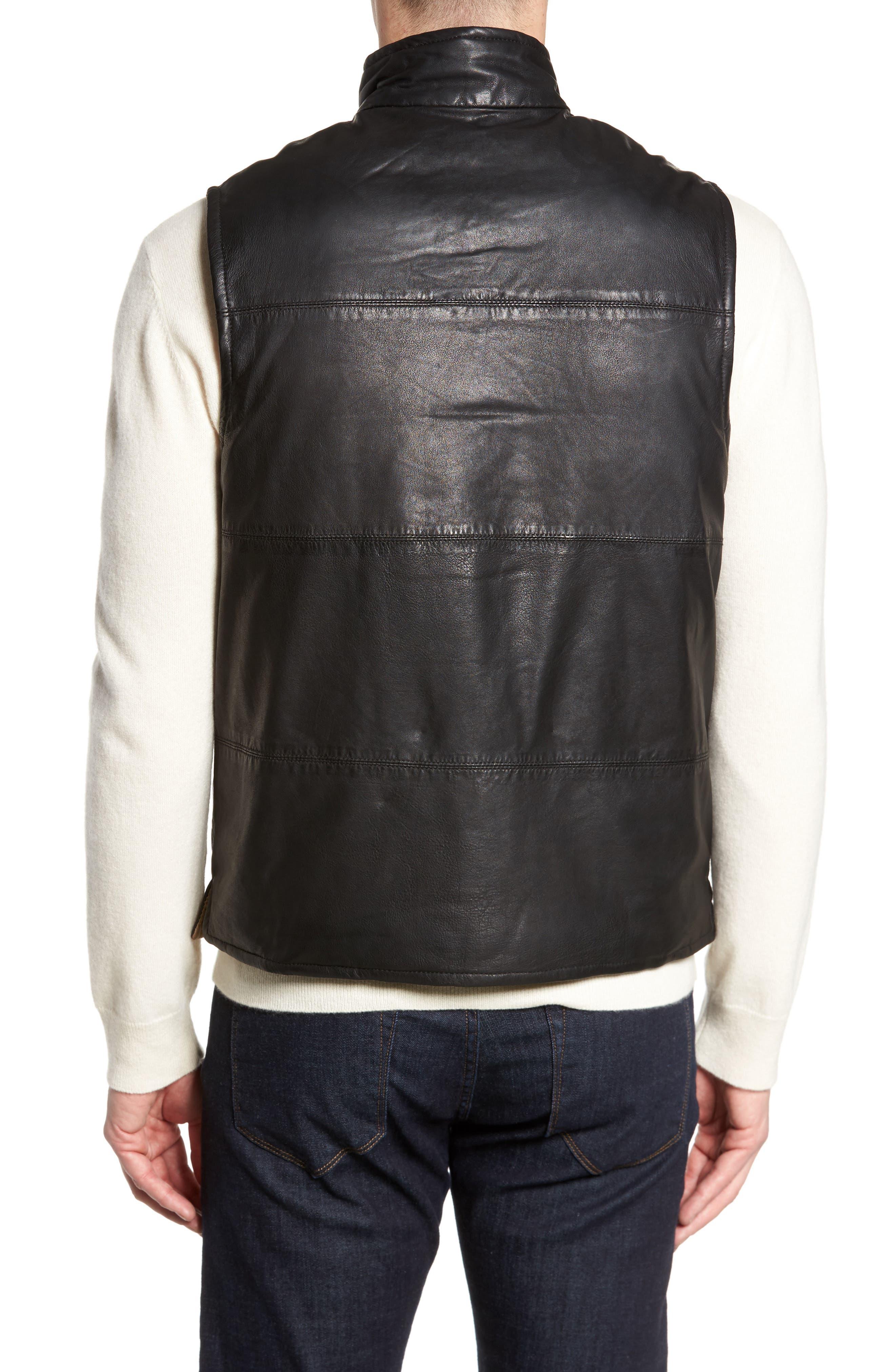 Reversible Leather Puffer Vest,                             Alternate thumbnail 3, color,                             001