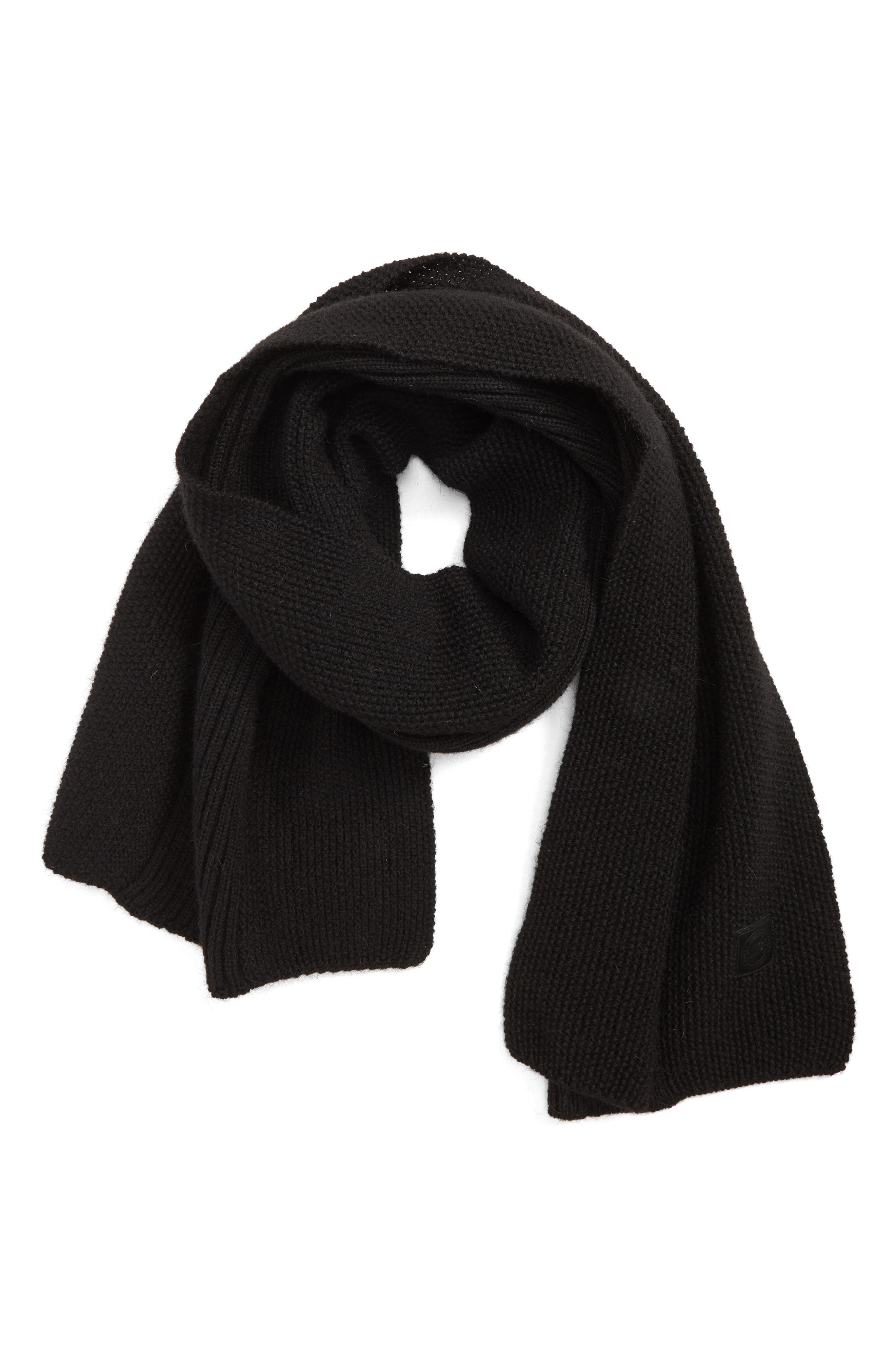 Textured Wool Scarf, Main, color, BLACK
