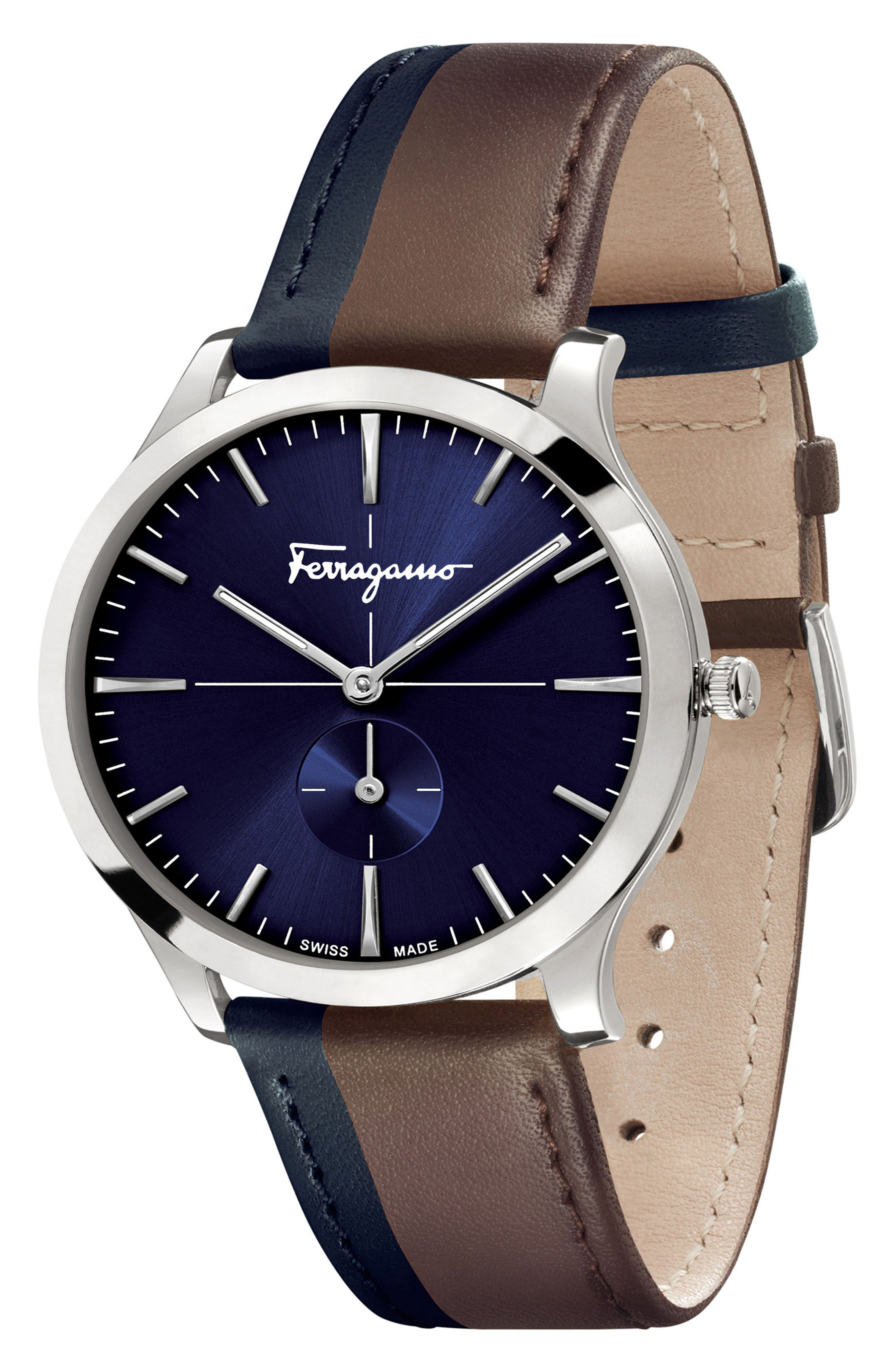 SALVATORE FERRAGAMO,                             Slim Formal Leather Strap Watch, 40mm,                             Alternate thumbnail 4, color,                             200