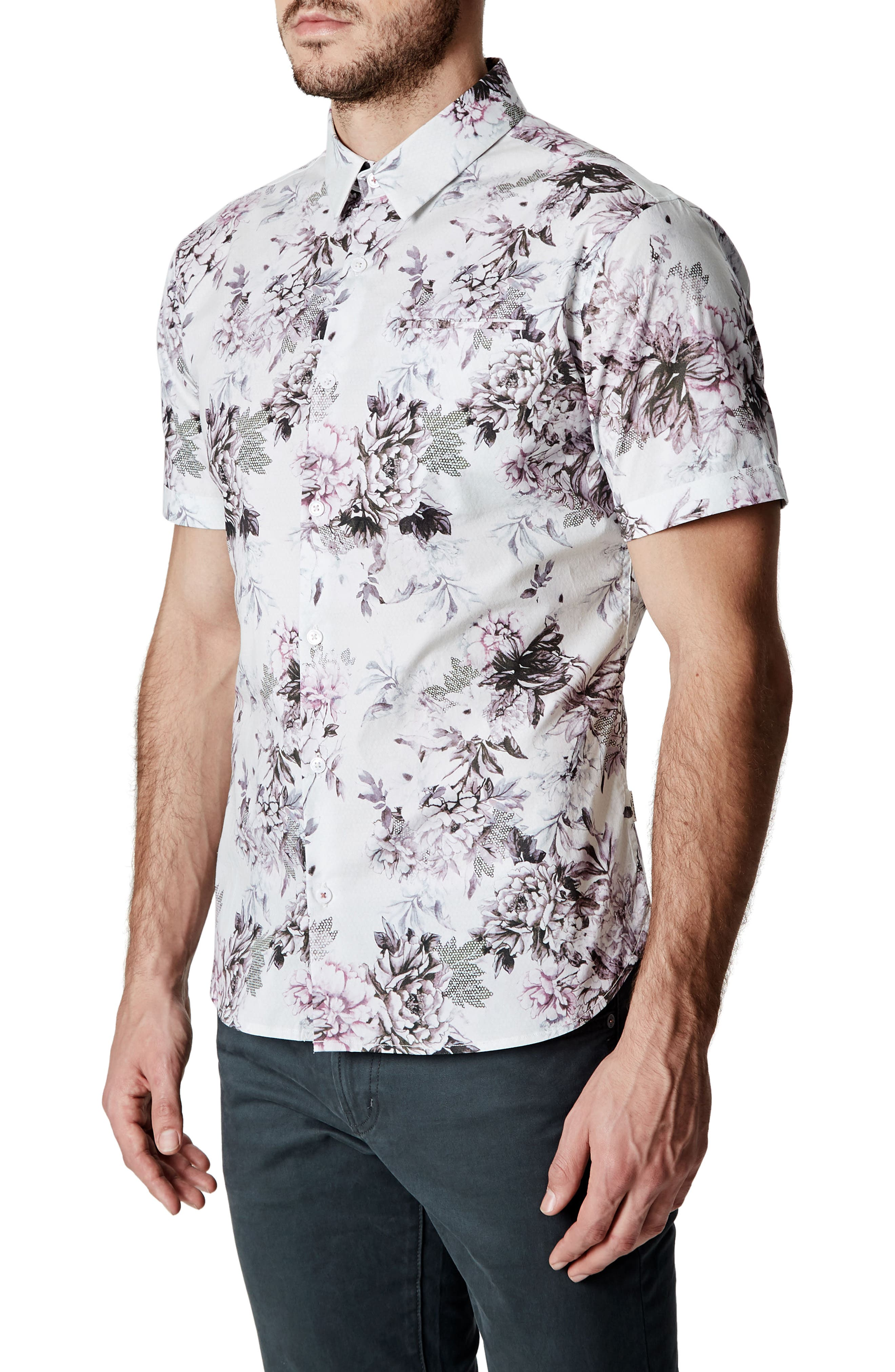 Aura Floral Sport Shirt,                             Alternate thumbnail 3, color,                             100