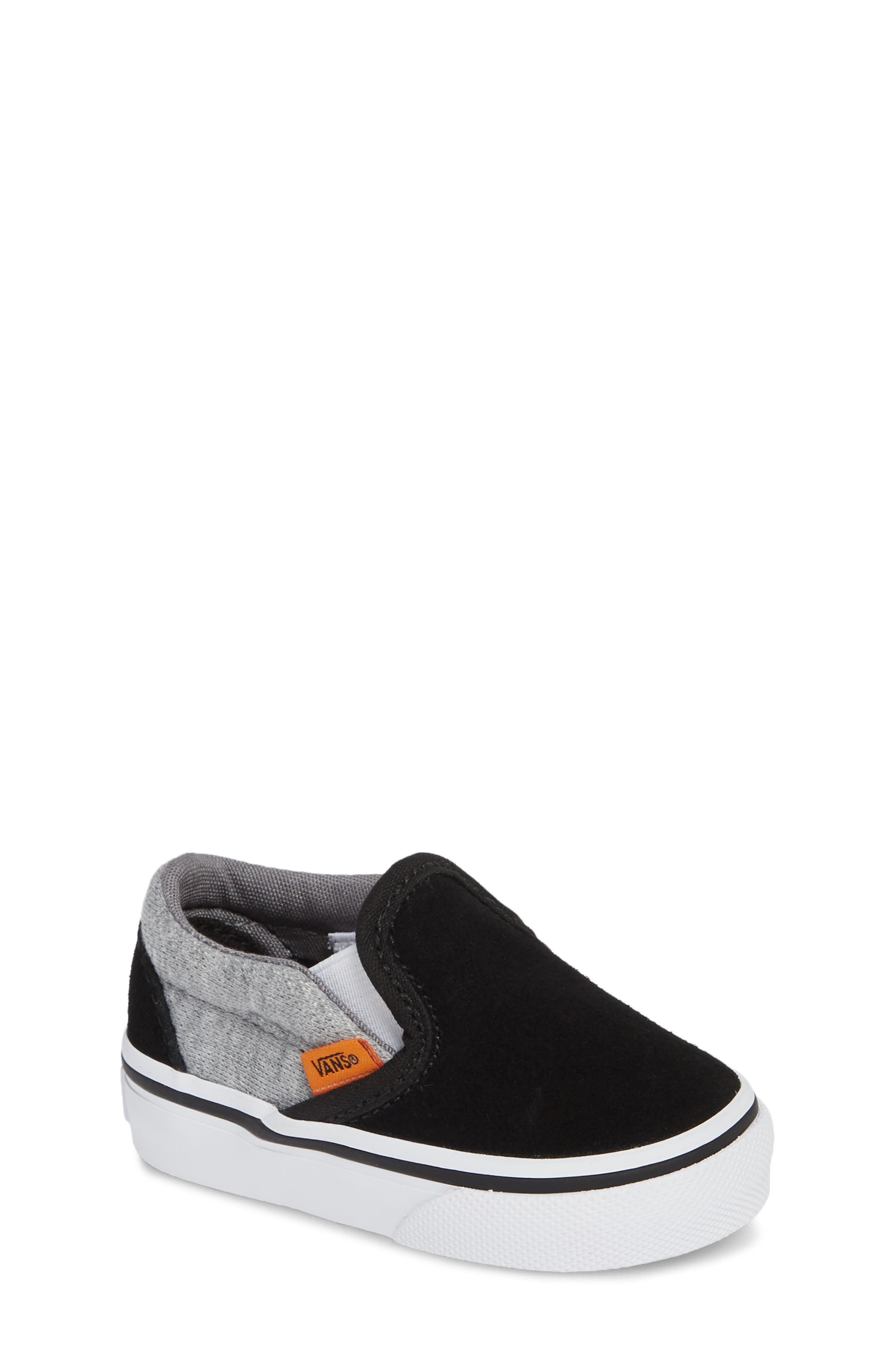 'Classic' Slip-On,                             Main thumbnail 1, color,                             SUEDE AND JERSEY GRAY/ BLACK