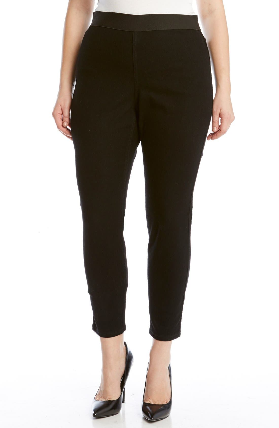 KAREN KANE Denim Leggings, Main, color, DARK BLACK