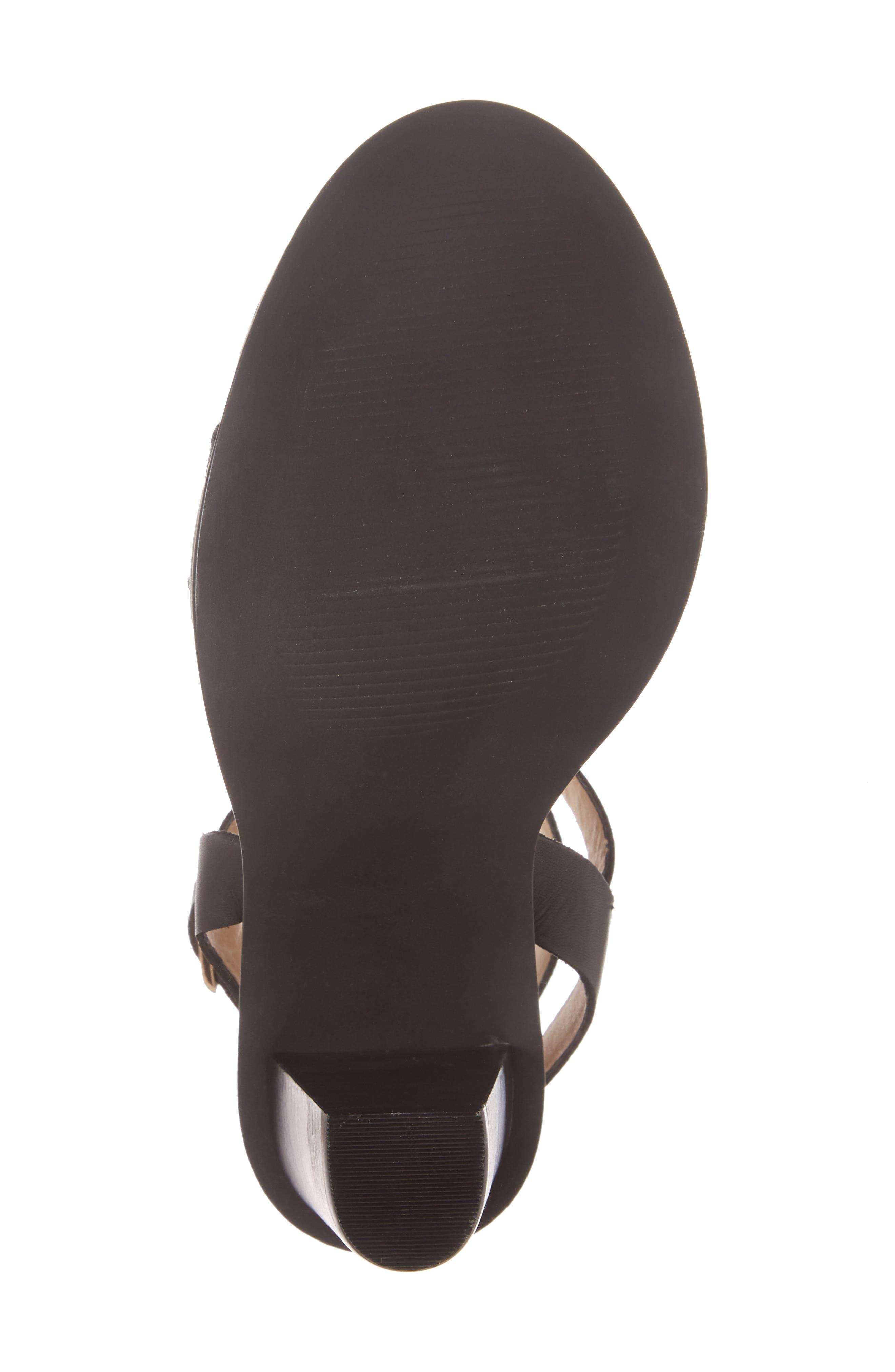 Poshy Ankle Wrap Sandal,                             Alternate thumbnail 6, color,                             BLACK LEATHER