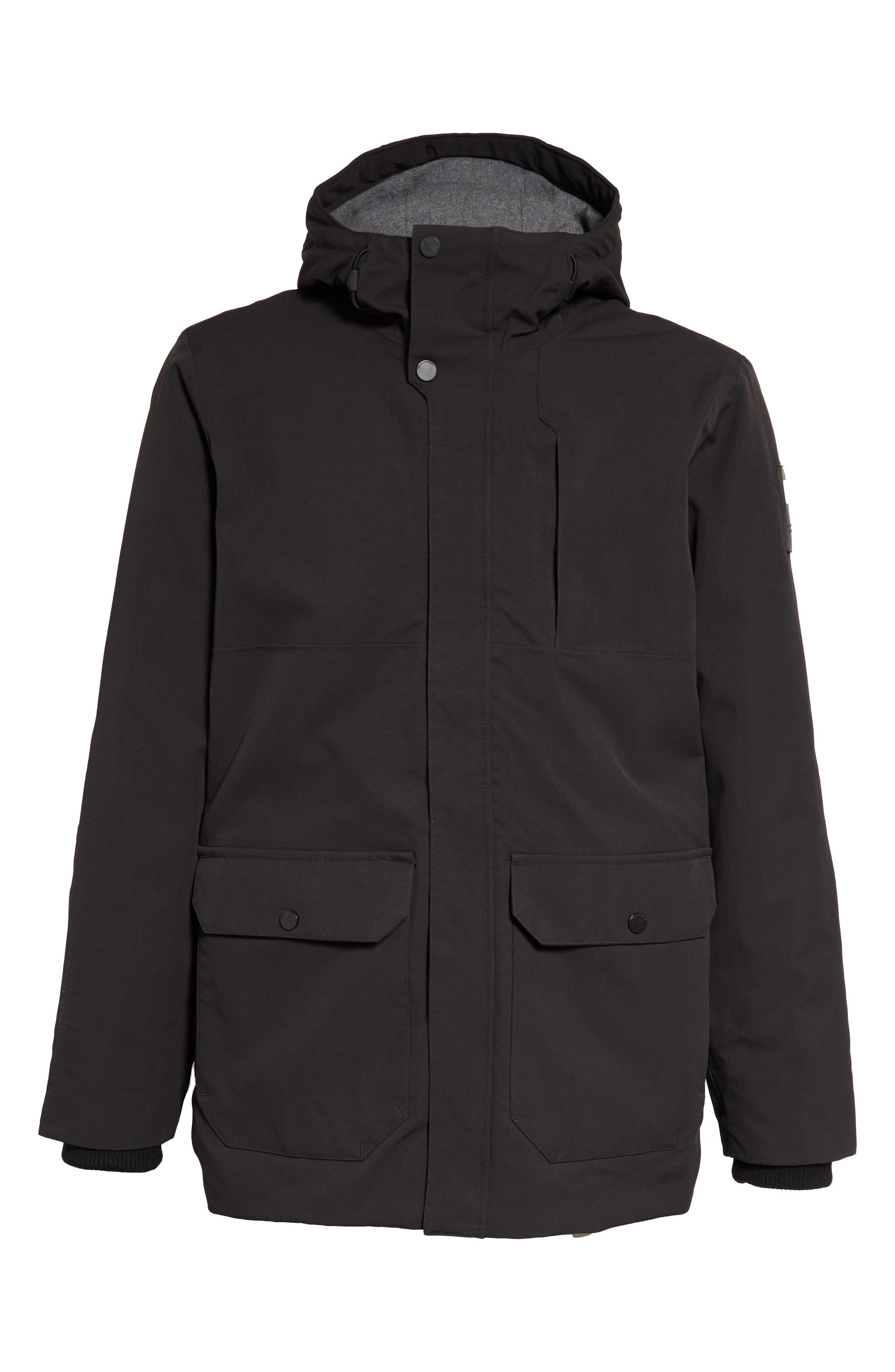 Urban Windproof & Waterproof Primaloft<sup>®</sup> Long Jacket,                             Alternate thumbnail 5, color,                             BLACK