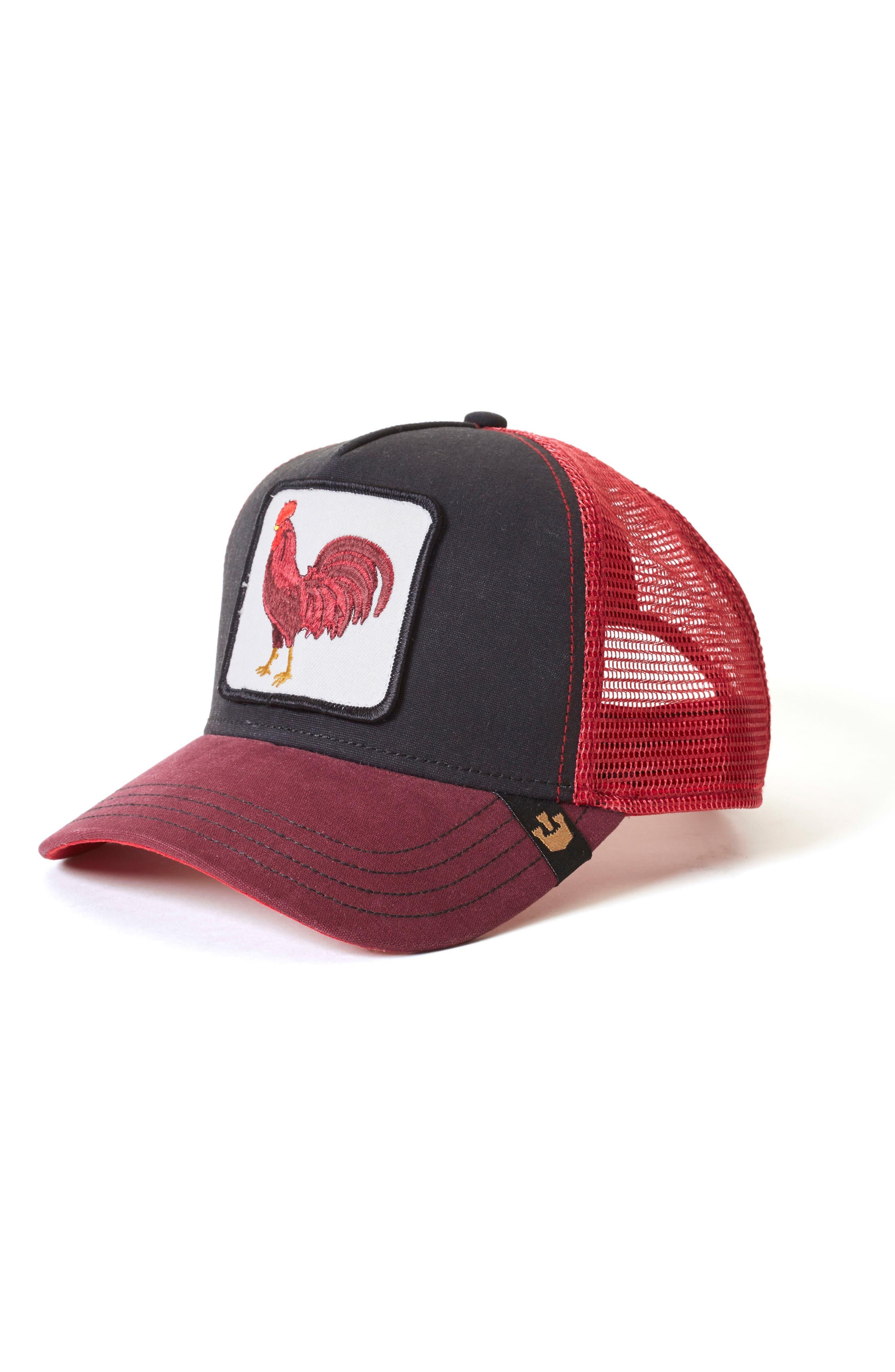 Barnyard King Trucker Hat,                         Main,                         color, BLACK