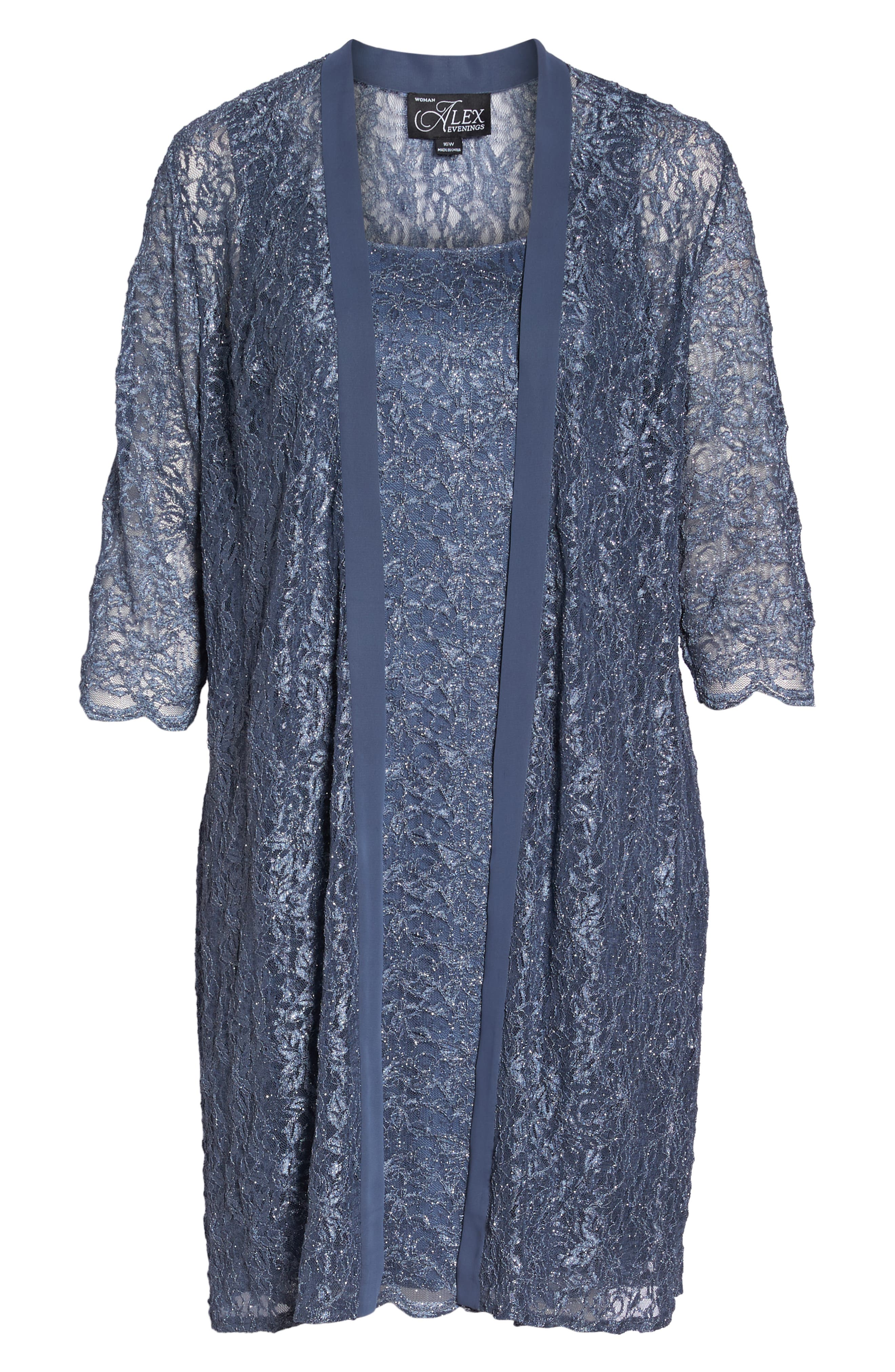 Lace Sheath Dress with Jacket,                             Alternate thumbnail 7, color,                             GREY