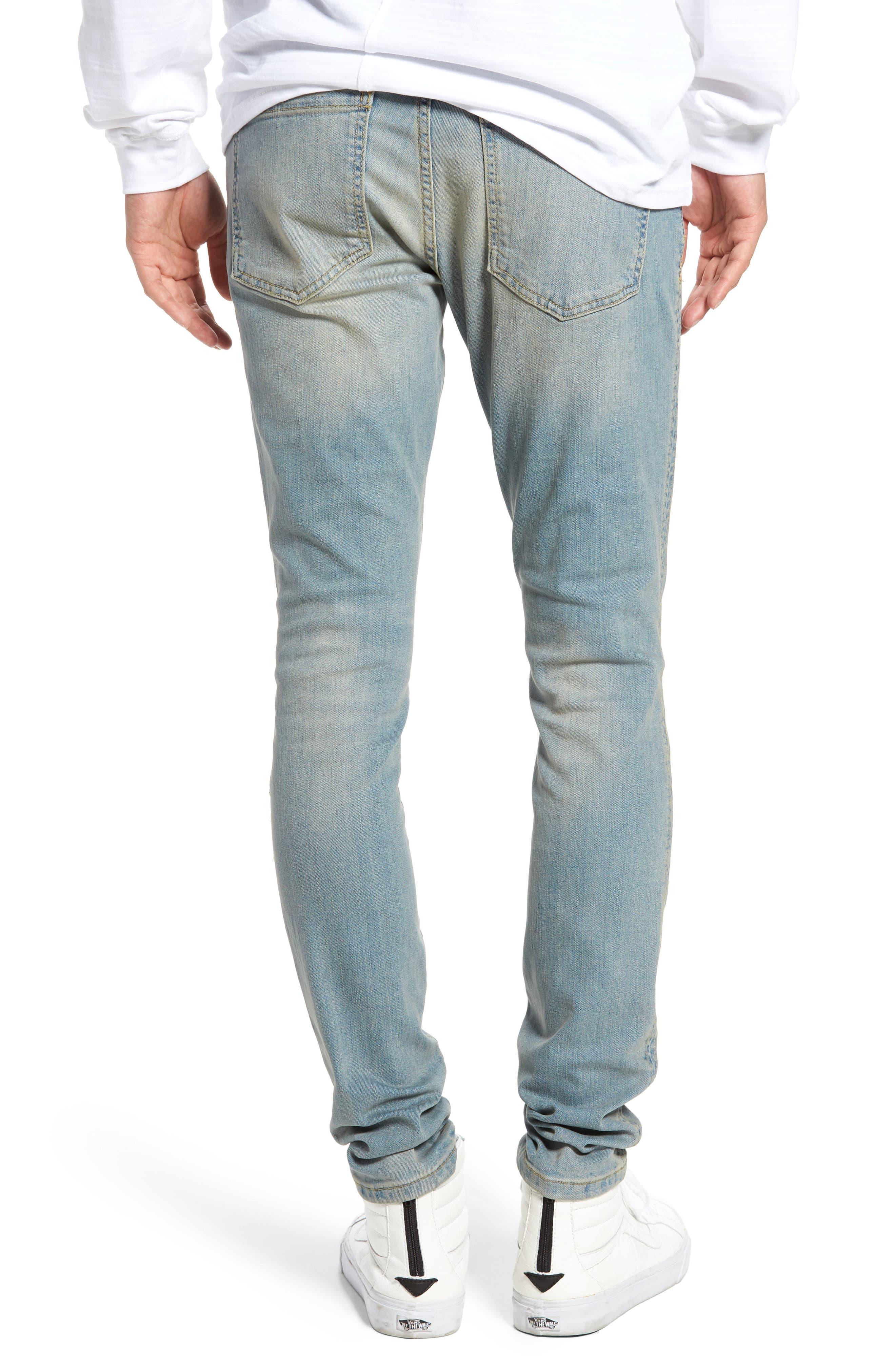 Slim Fit Distressed Jeans,                             Alternate thumbnail 4, color,