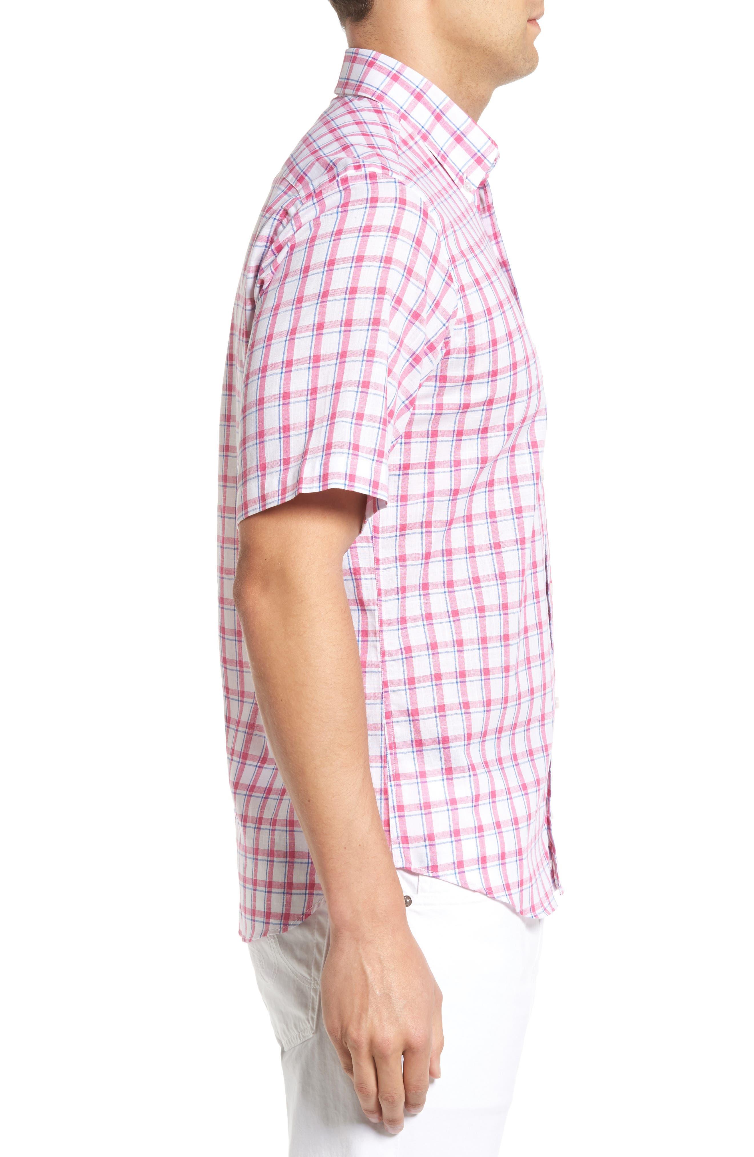 Regular Fit Short Sleeve Windowpane Sport Shirt,                             Alternate thumbnail 3, color,                             650