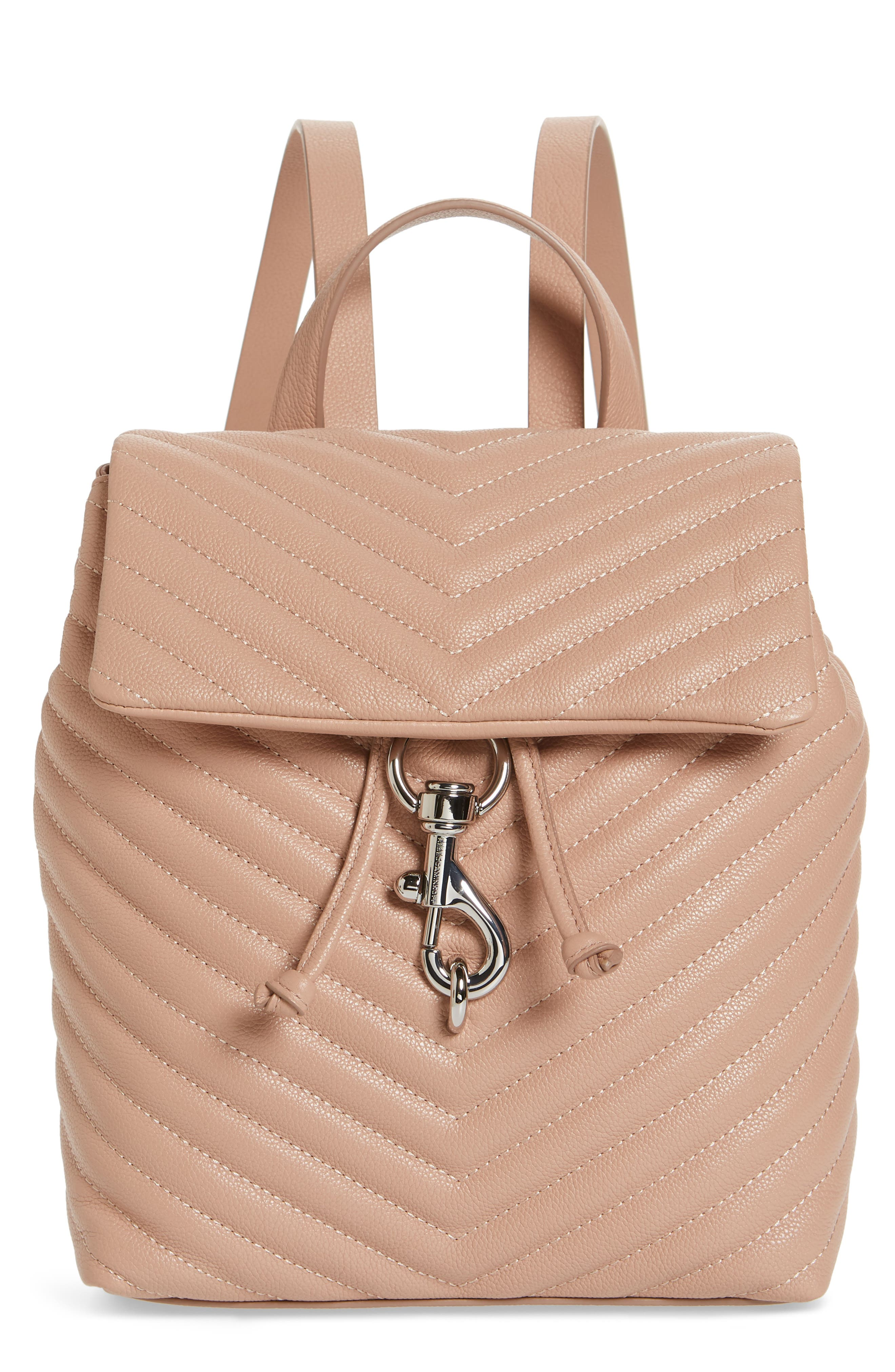 Edie Quilted Leather Backpack - Beige in Doe