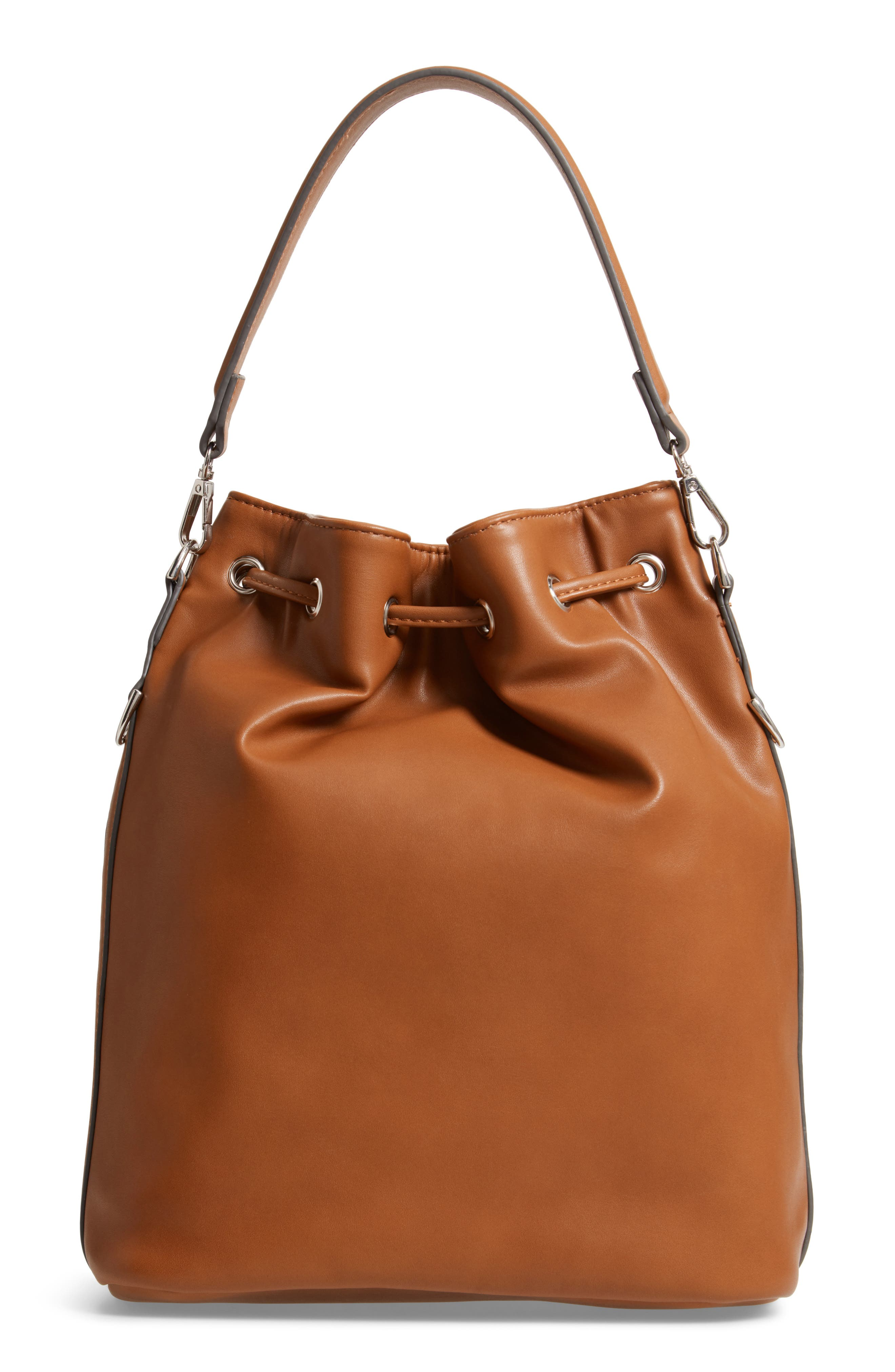 Faux Leather Bucket Bag,                             Alternate thumbnail 4, color,                             200