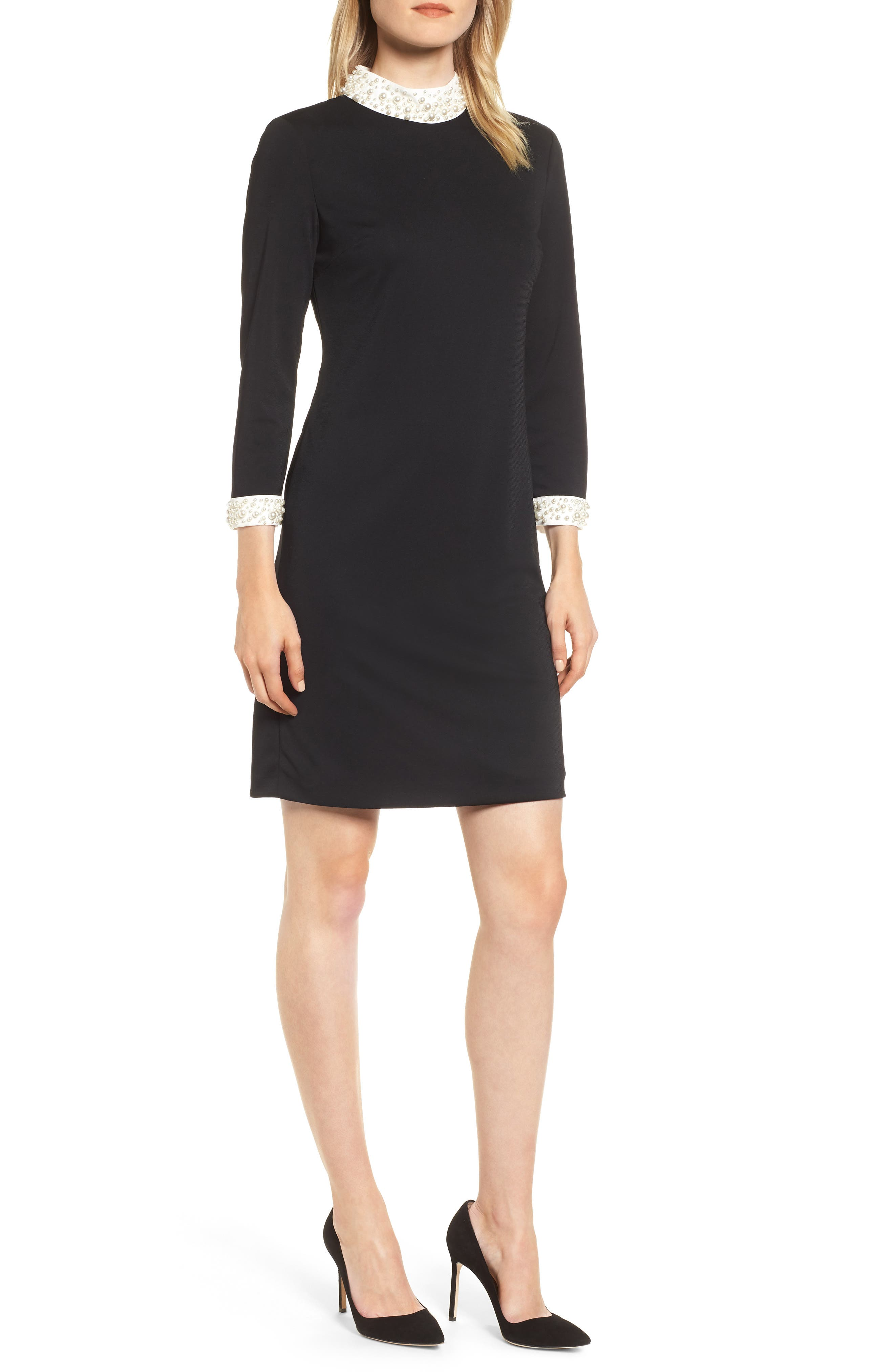 KARL LAGERFELD Pearly Detail High-Neck Sheath Dress in Black