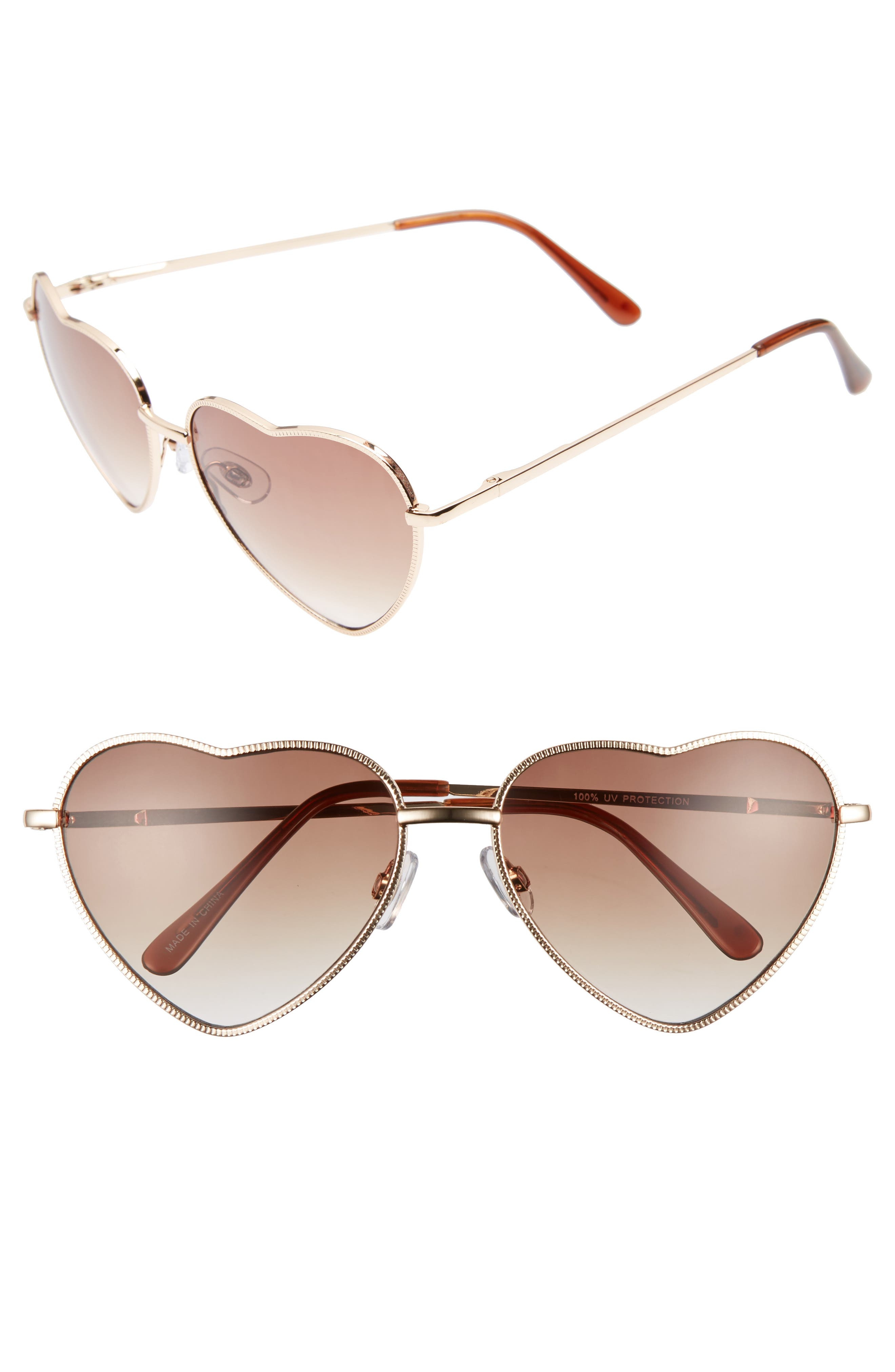 Heart Shaped 58mm Sunglasses,                             Alternate thumbnail 2, color,                             GOLD/ BROWN