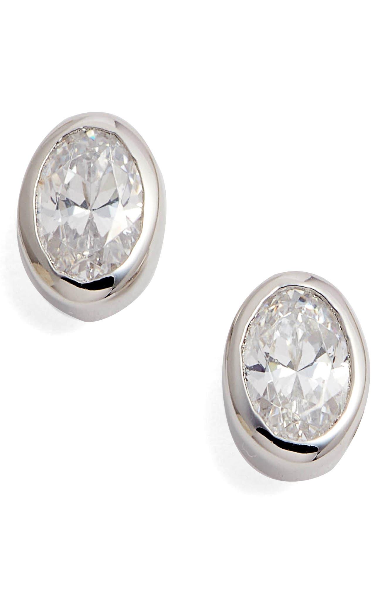 Bezel Set Oval Stud Earrings,                             Main thumbnail 1, color,                             SILVER/ CLEAR